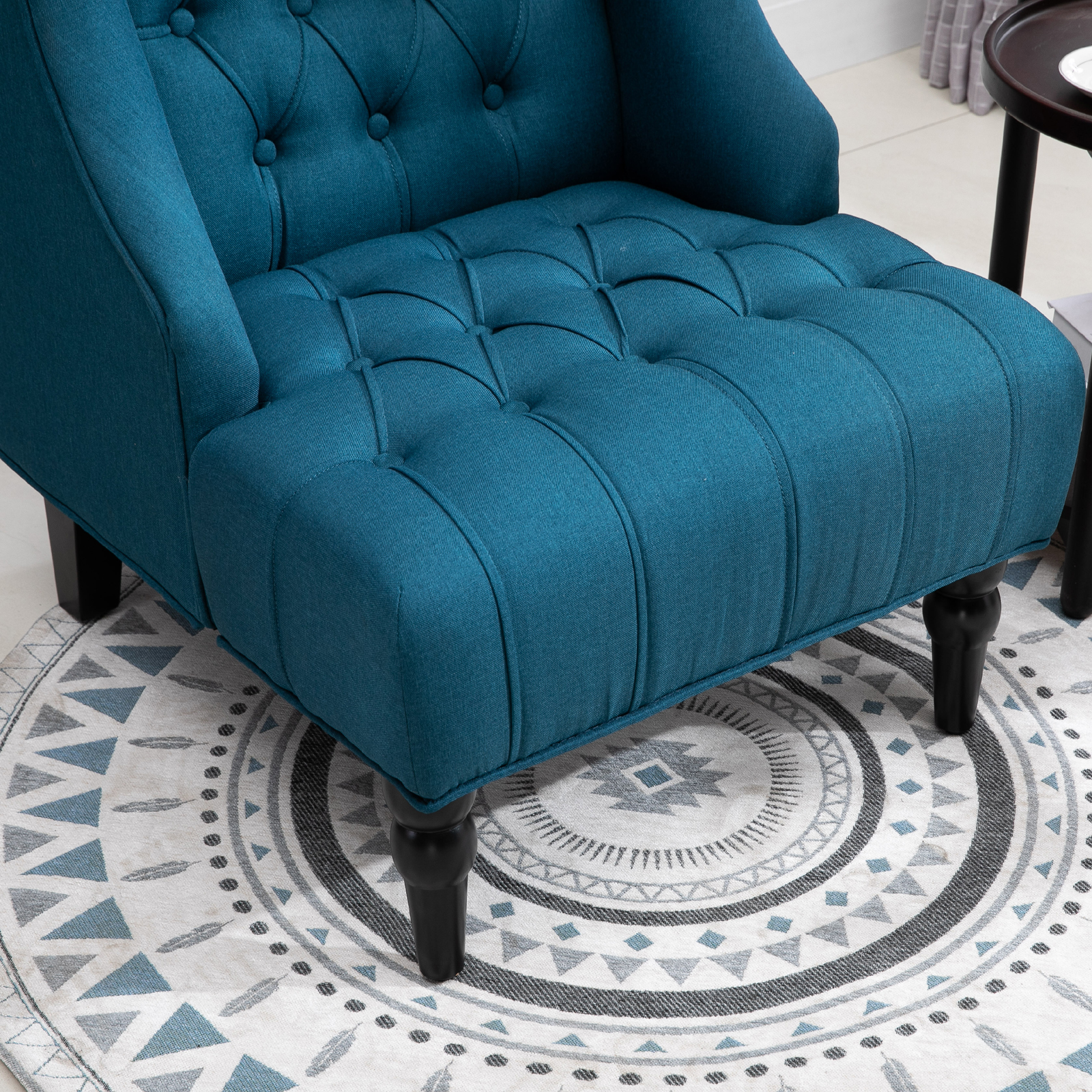 Linen Fabric Tufted Tall Wingback Accent Chair With Wooden
