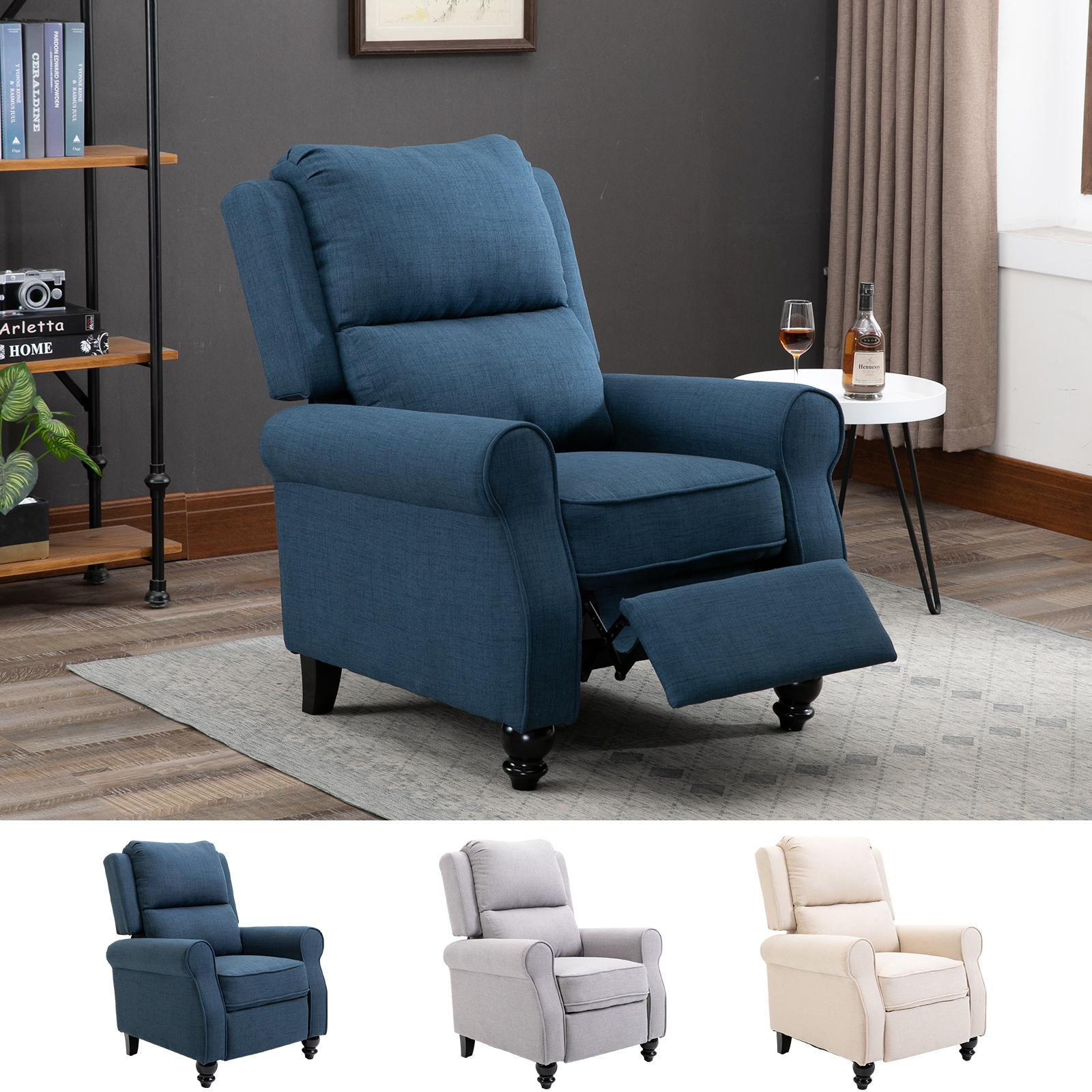 Modern Manual Recliner Armchair Sofa With Retractable
