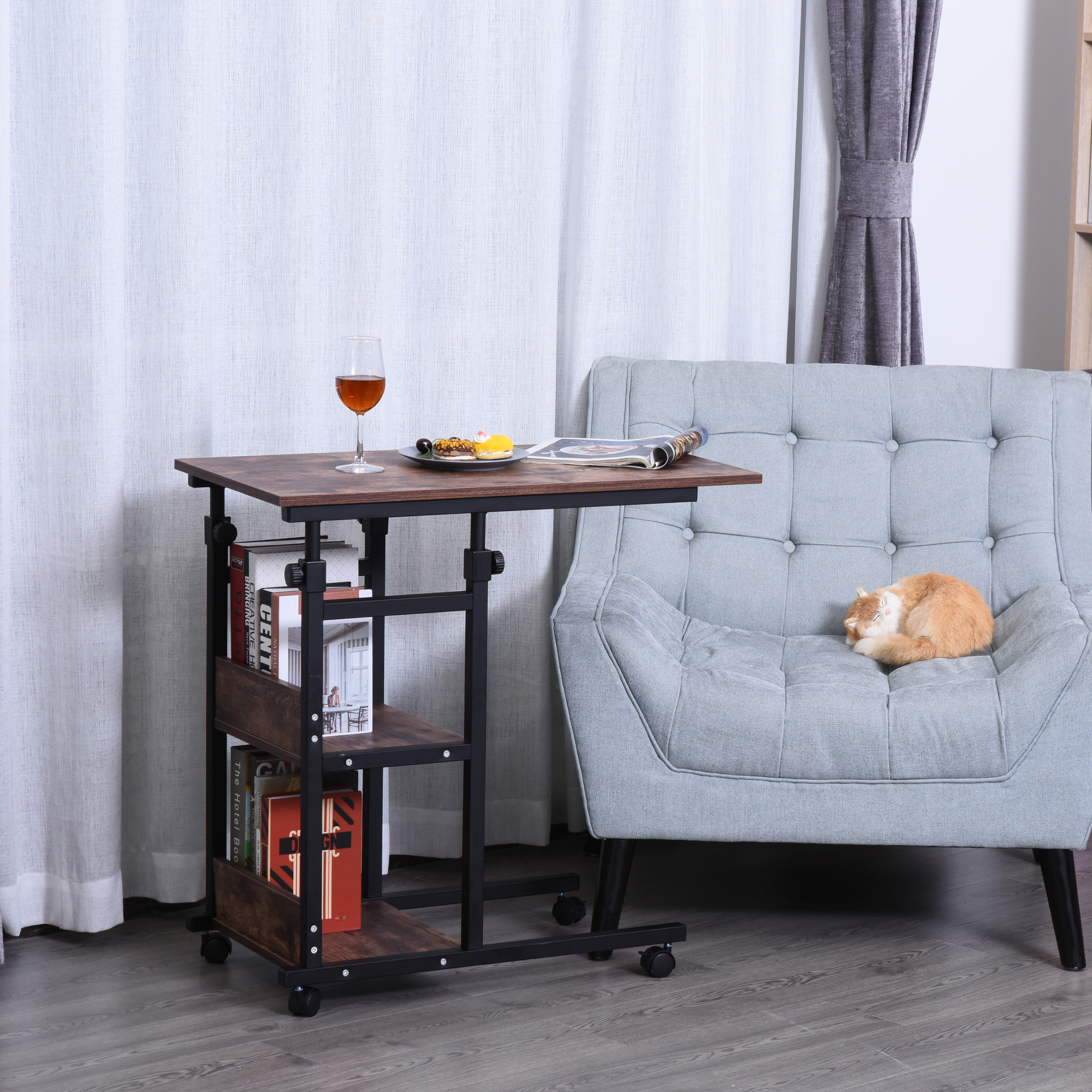 Picture of: C Shaped Mobile Sofa Bed Side Table Adjust Height 3 Tier Cart W Casters Brake Ebay