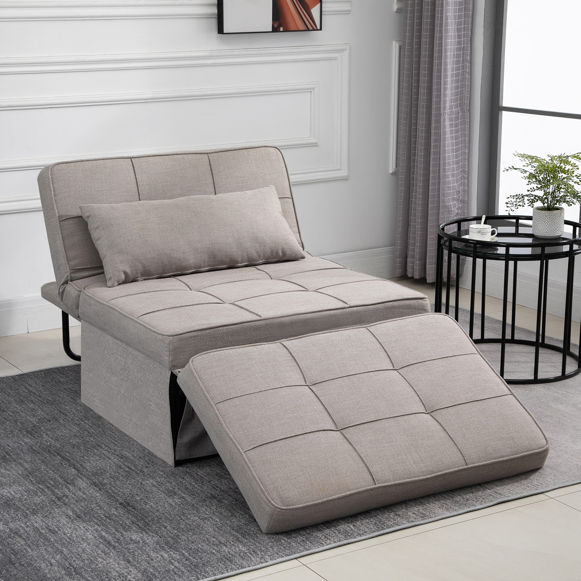 Picture of: 2 Person Convertible Sofabed With Adjustable Backrest Footstool For Living Room Ebay