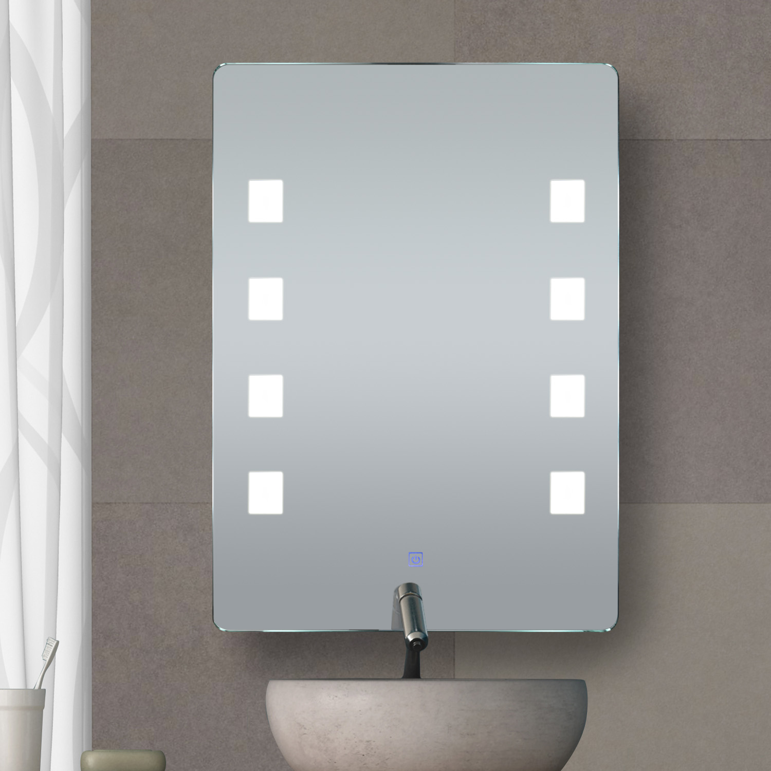 LED Lighted Bathroom Mirror Wall Aluminum Make Up Touch Button ...
