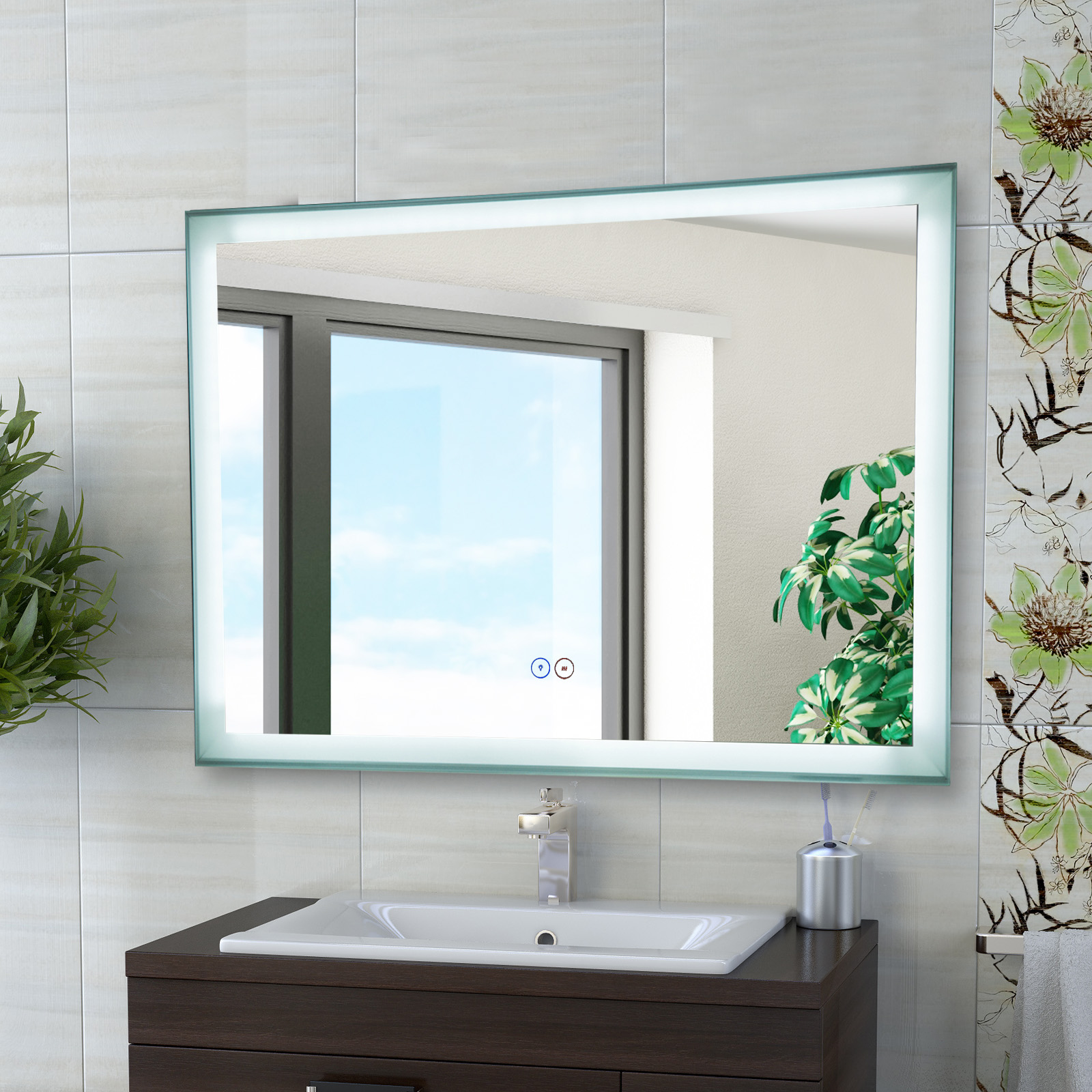 Rectangular LED Illuminated Anti-Fog Bathroom Wall Mirror Lighted ...