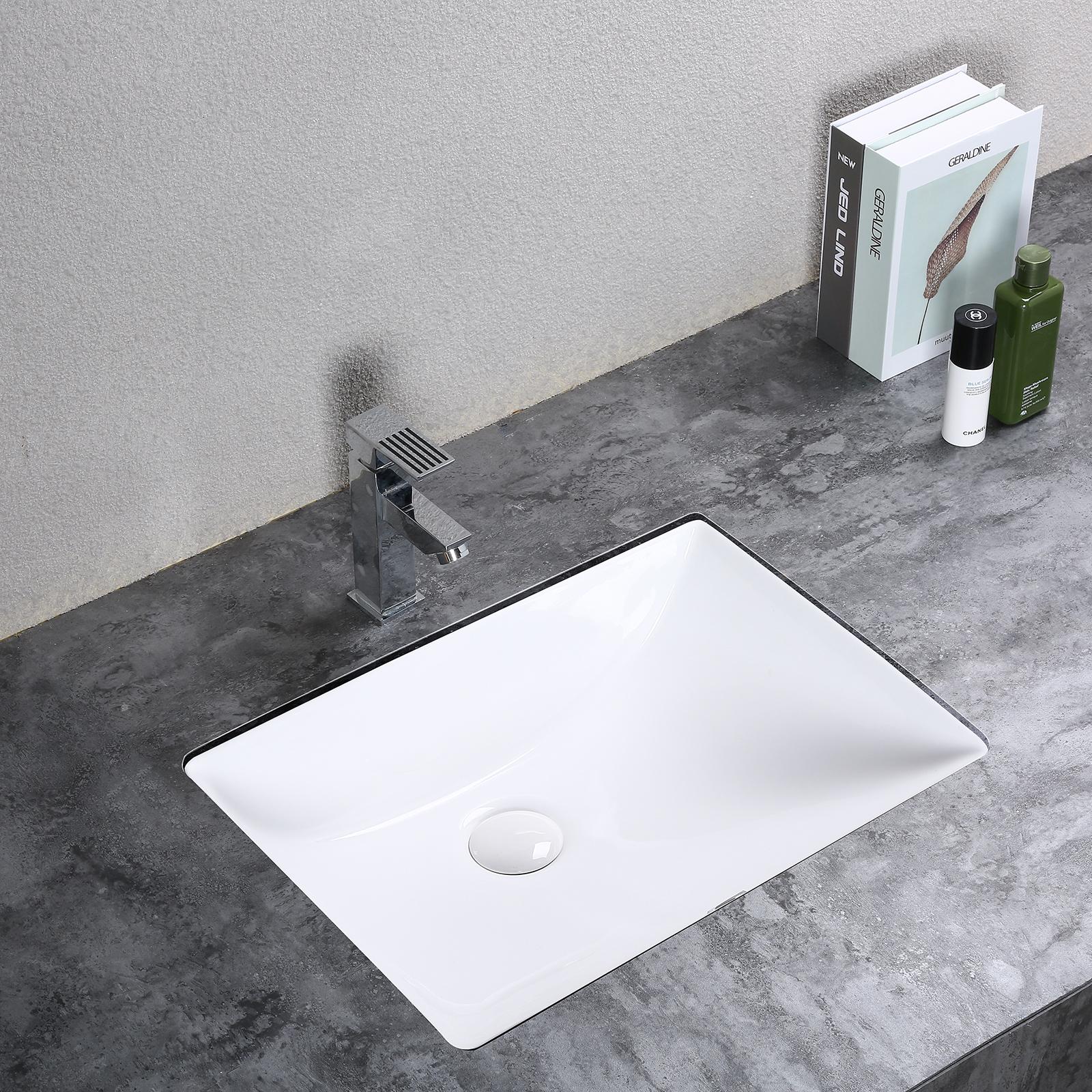 Attirant Details About Rectangular Ceramic Contemporary Undermount Basin Bathroom  Vanity Sink   White
