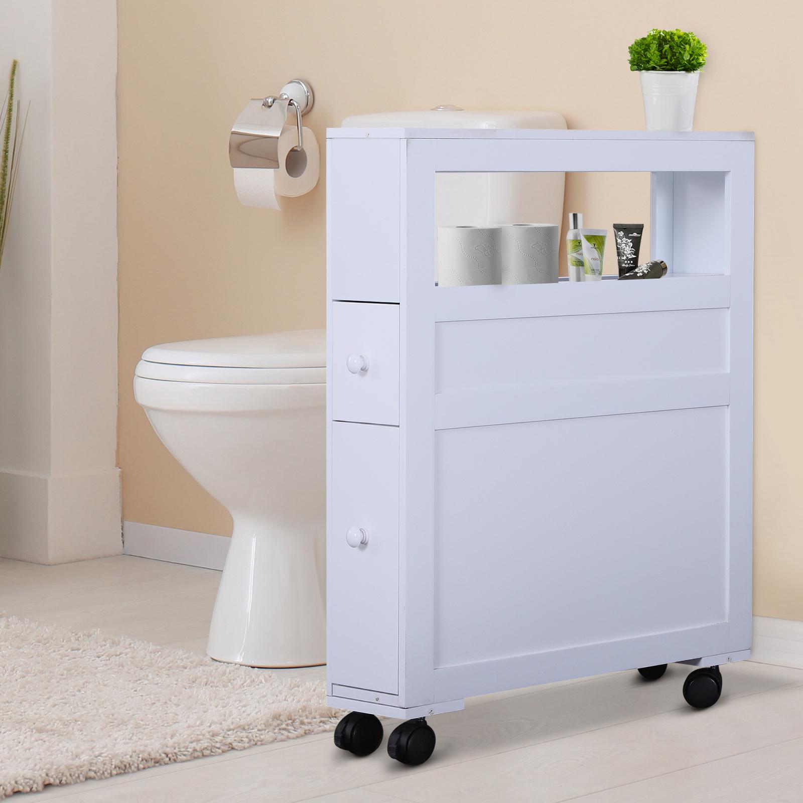 Wood Rolling Slim Narrow Bathroom Floor Side Storage Cabinet White 842525132503 Ebay