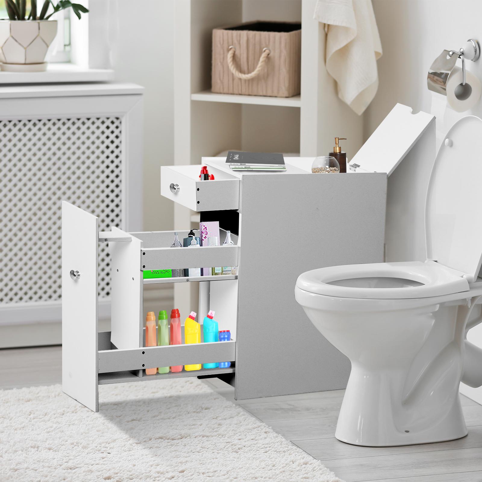 Groovy Details About Homcom Bathroom Floor Organizer Freestanding Space Saving Narrow Storage Cabinet Interior Design Ideas Skatsoteloinfo