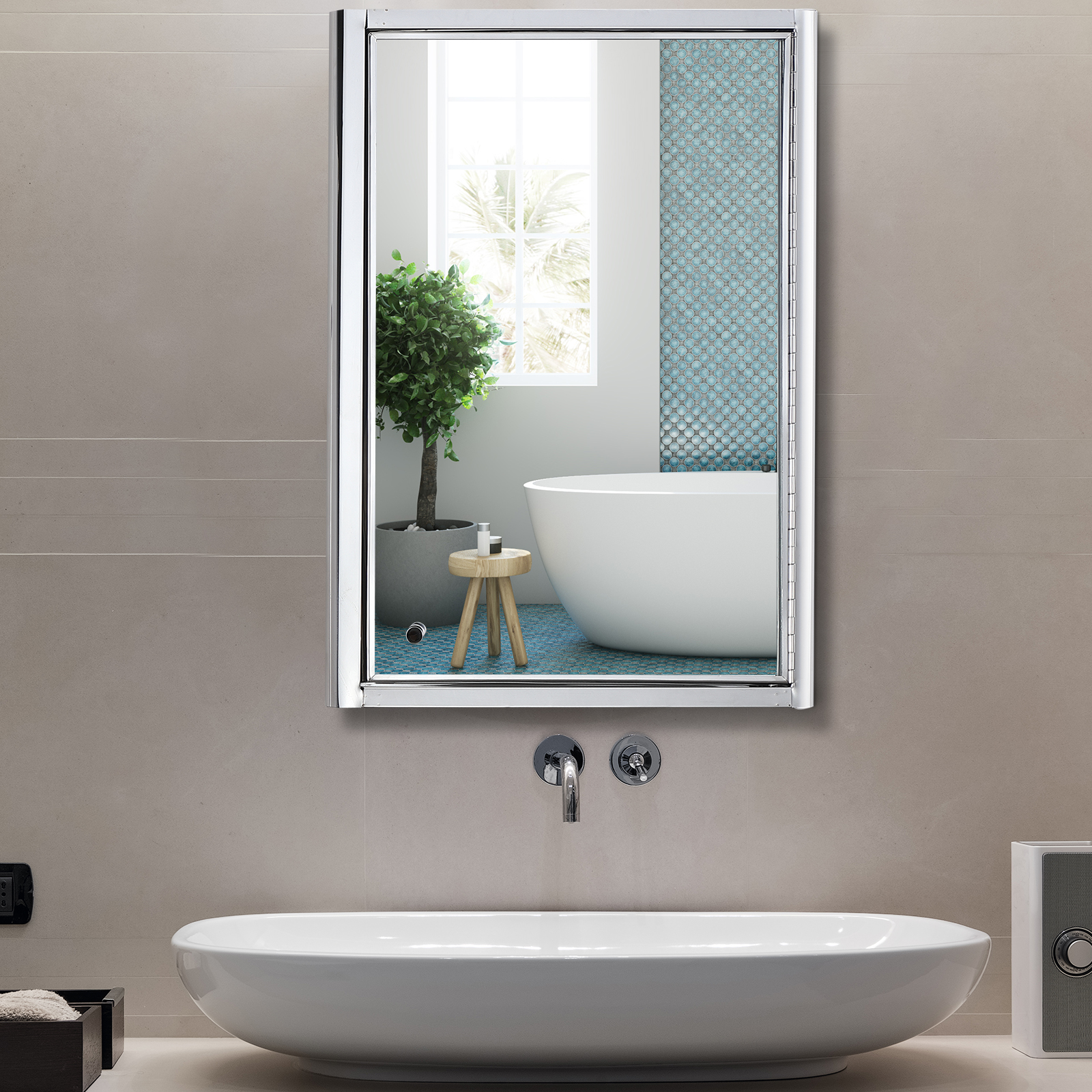 14 W X 20 H Wall Mounted Bathroom Medicine Cabinet With Vanity Mirror Ebay
