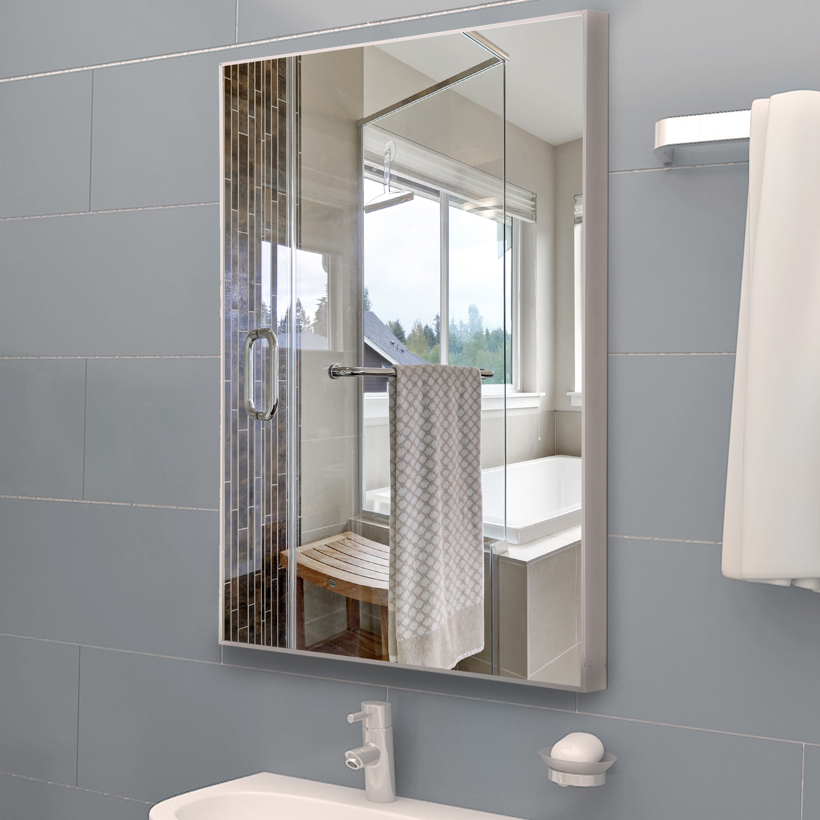 Wall Bathroom Vanity Mirror Rectangle Glass Aluminum Alloy Frame Beveled Mirror On Sale Mirror Online Buy From Dingding134 48 46 Dhgate Com