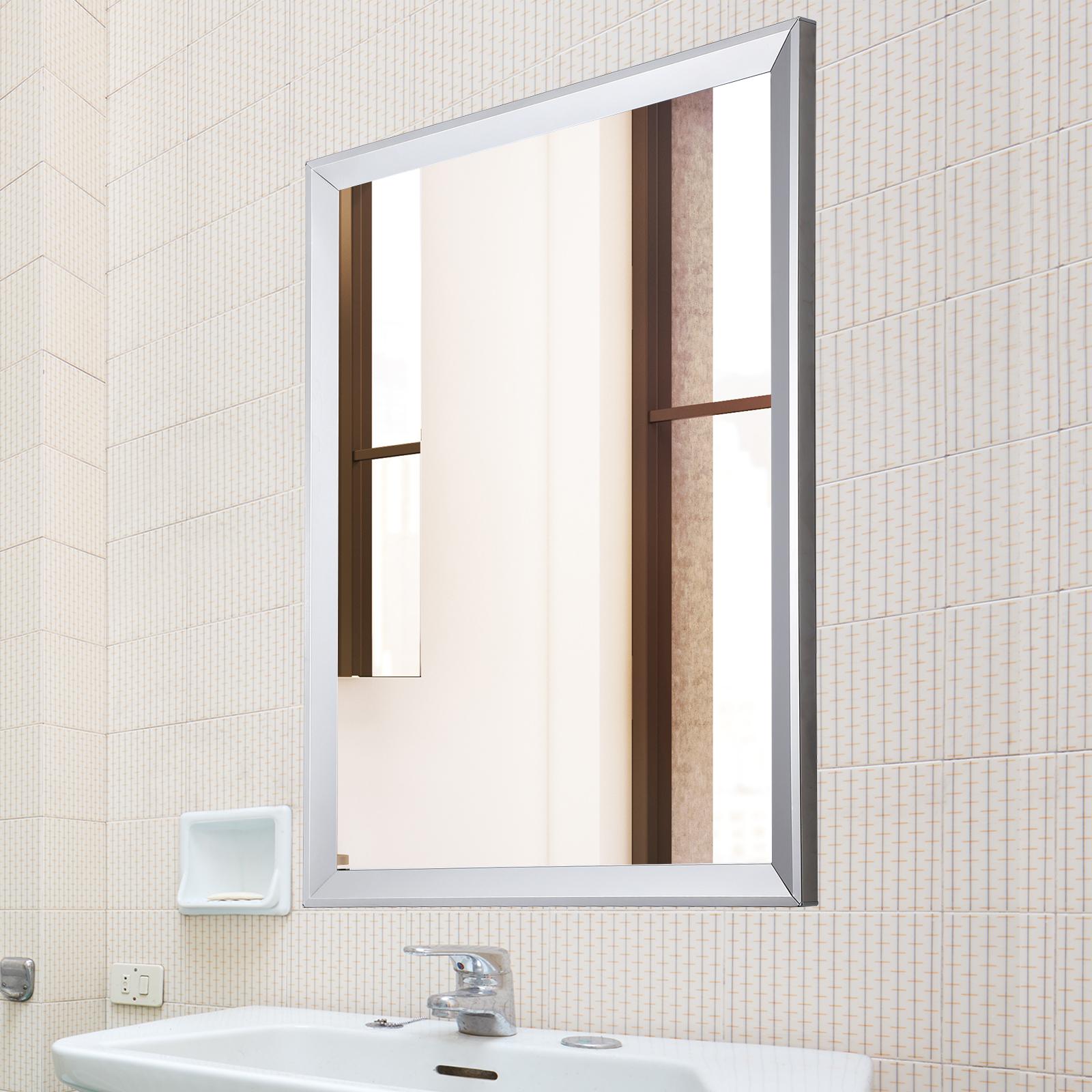 Decorative Mirrors Frameless Rectangle Bathroom Glas Look