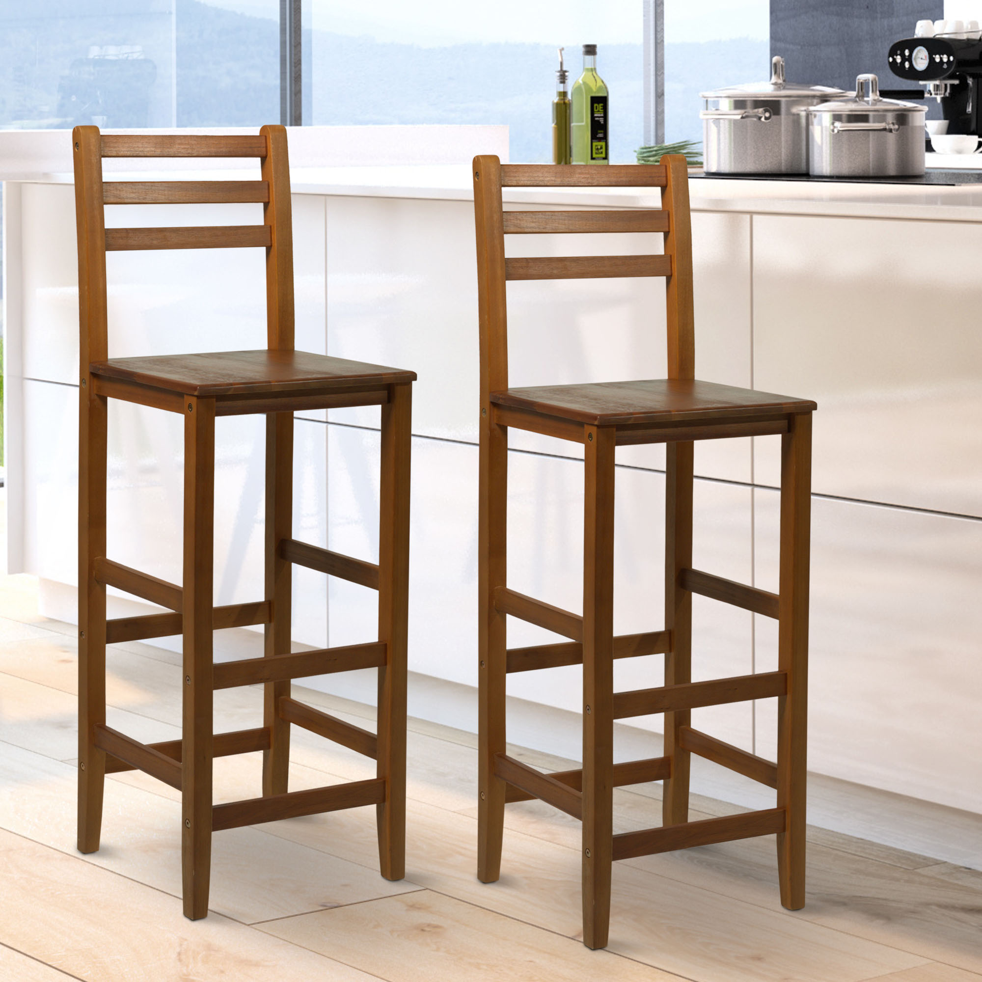 Super Details About 2Pc 43H Counter Height Chair Patio Bar Stool Armless Seat Acacia Wood Indoor Machost Co Dining Chair Design Ideas Machostcouk