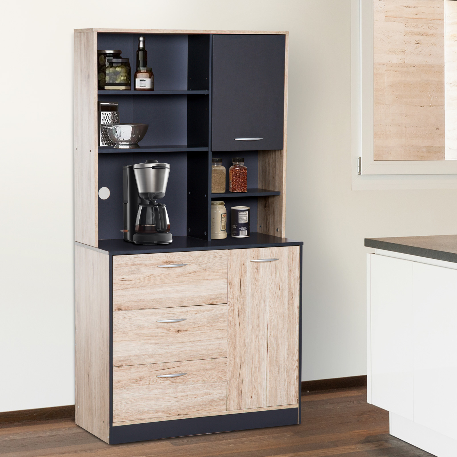 Superb Details About 66 5 Kitchen Storage Pantry Cabinet Hutch Buffet Server Microwave With 2 Doors Home Interior And Landscaping Analalmasignezvosmurscom