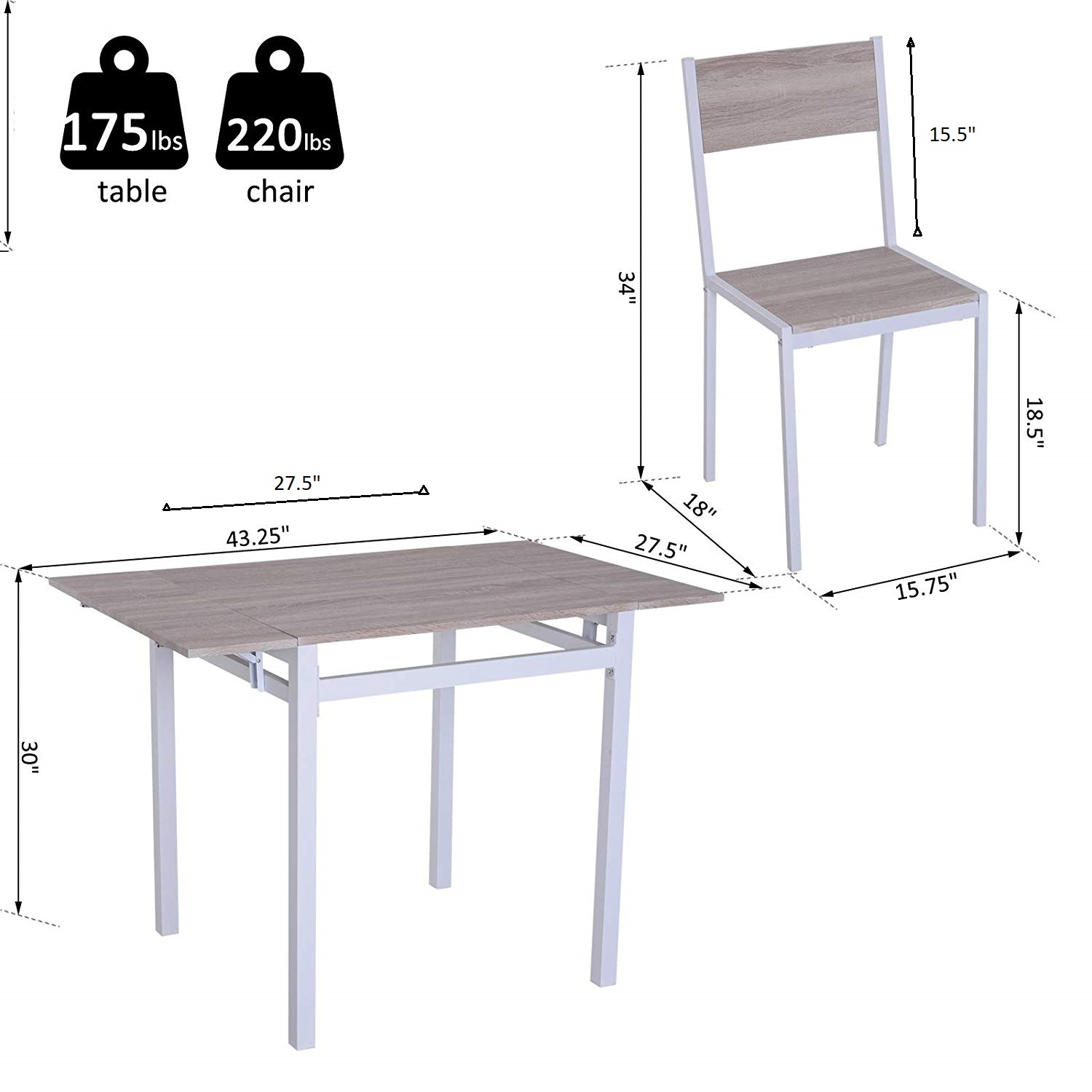 5-PC-Extending-Drop-Leaf-Counter-Height-Dining-Set-Table-amp-4-Chairs-Kitchen thumbnail 3