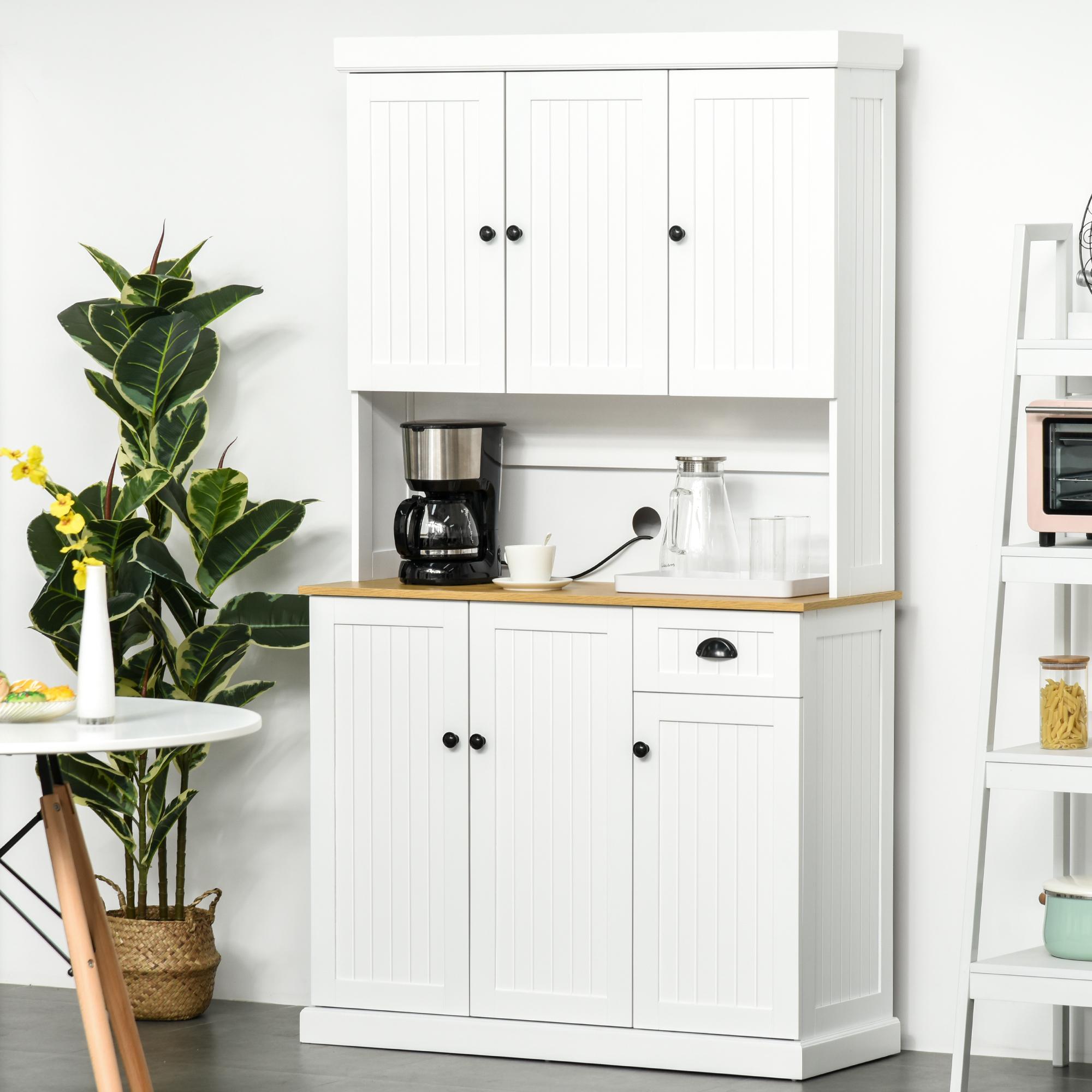 Homcom 71 Wood Kitchen Pantry Storage Cabinet Microwave Oven Free Standing 842525138307 Ebay