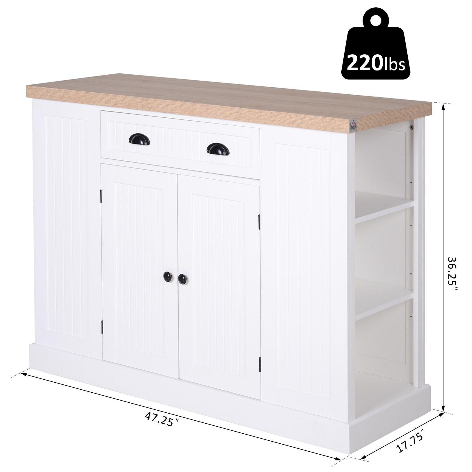 Wooden Kitchen Island Storage Cabinet with Drawer Shelving ...