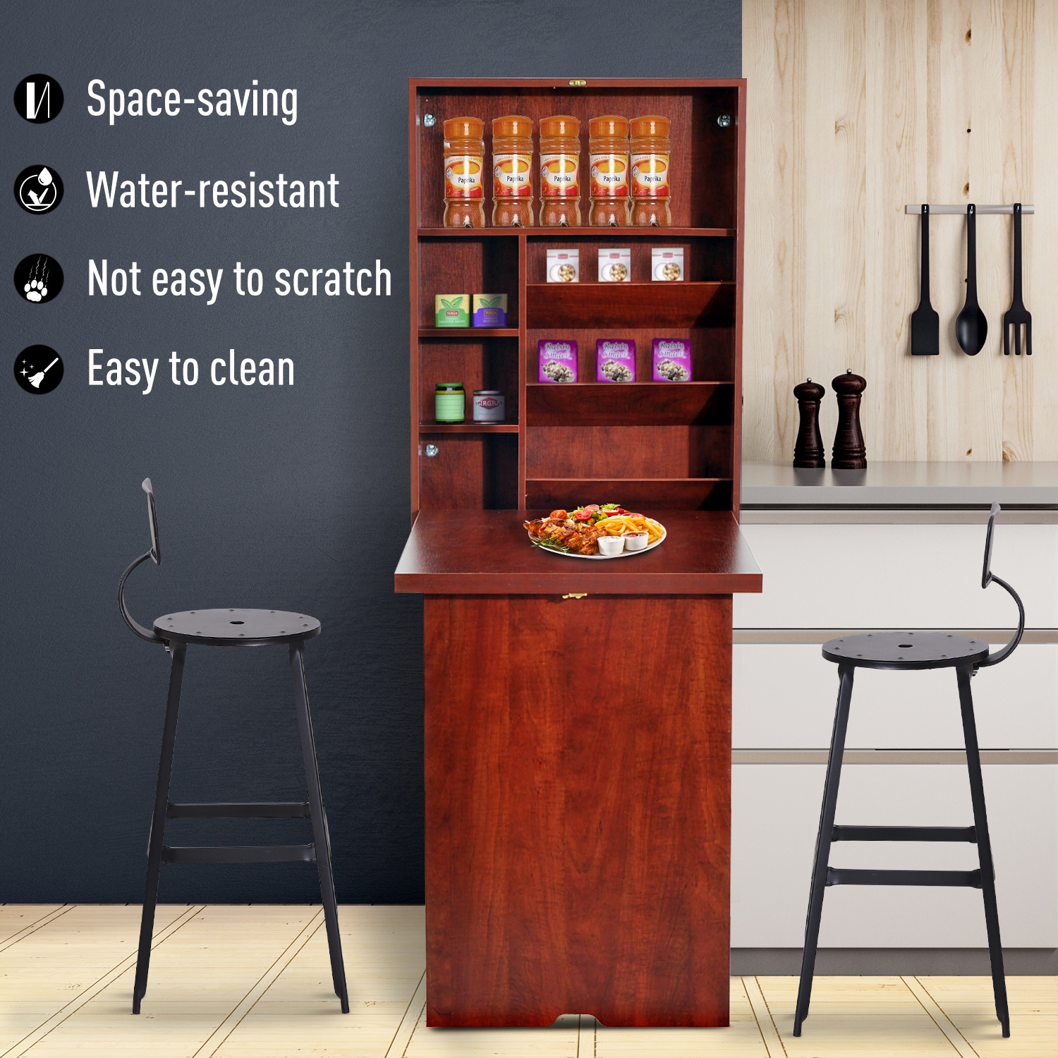 Wall-Mount-Writing-Table-Convertible-Folding-Computer-Desk-Storage-Home-Office thumbnail 13
