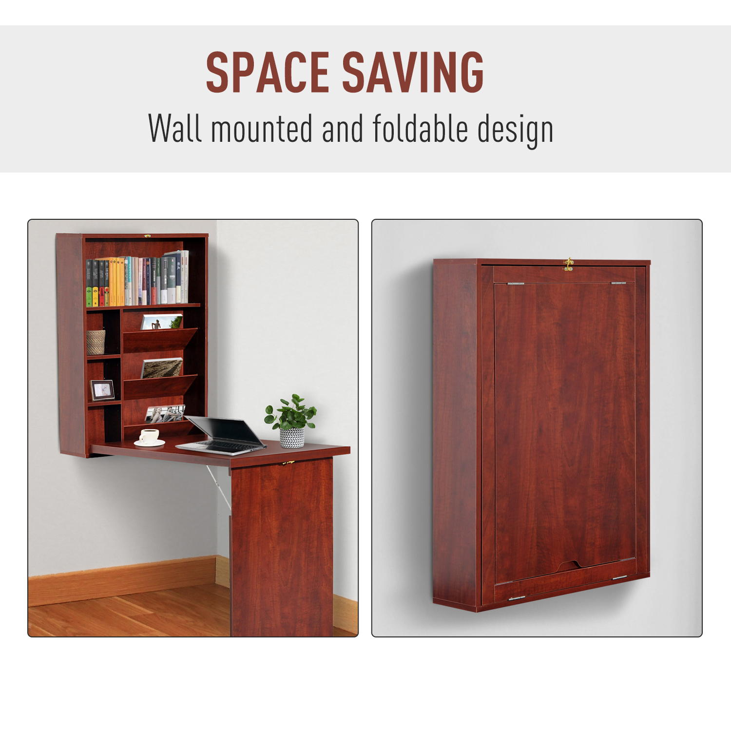 Wall-Mount-Writing-Table-Convertible-Folding-Computer-Desk-Storage-Home-Office thumbnail 14