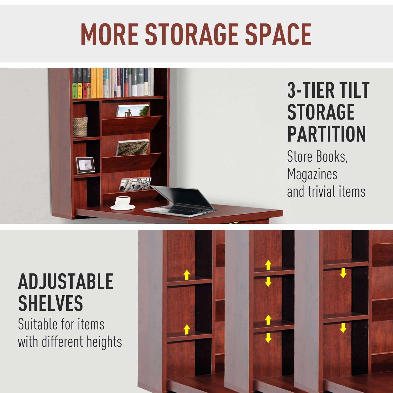 Wall-Mount-Writing-Table-Convertible-Folding-Computer-Desk-Storage-Home-Office thumbnail 15