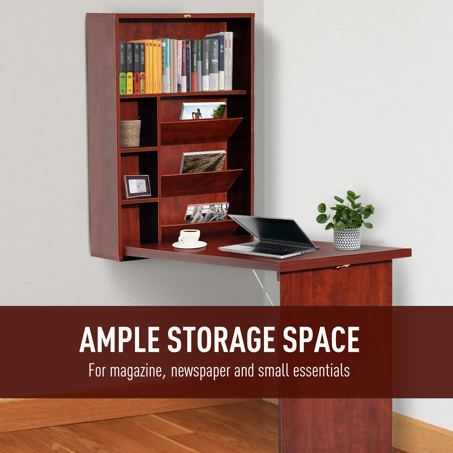 Wall-Mount-Writing-Table-Convertible-Folding-Computer-Desk-Storage-Home-Office thumbnail 16