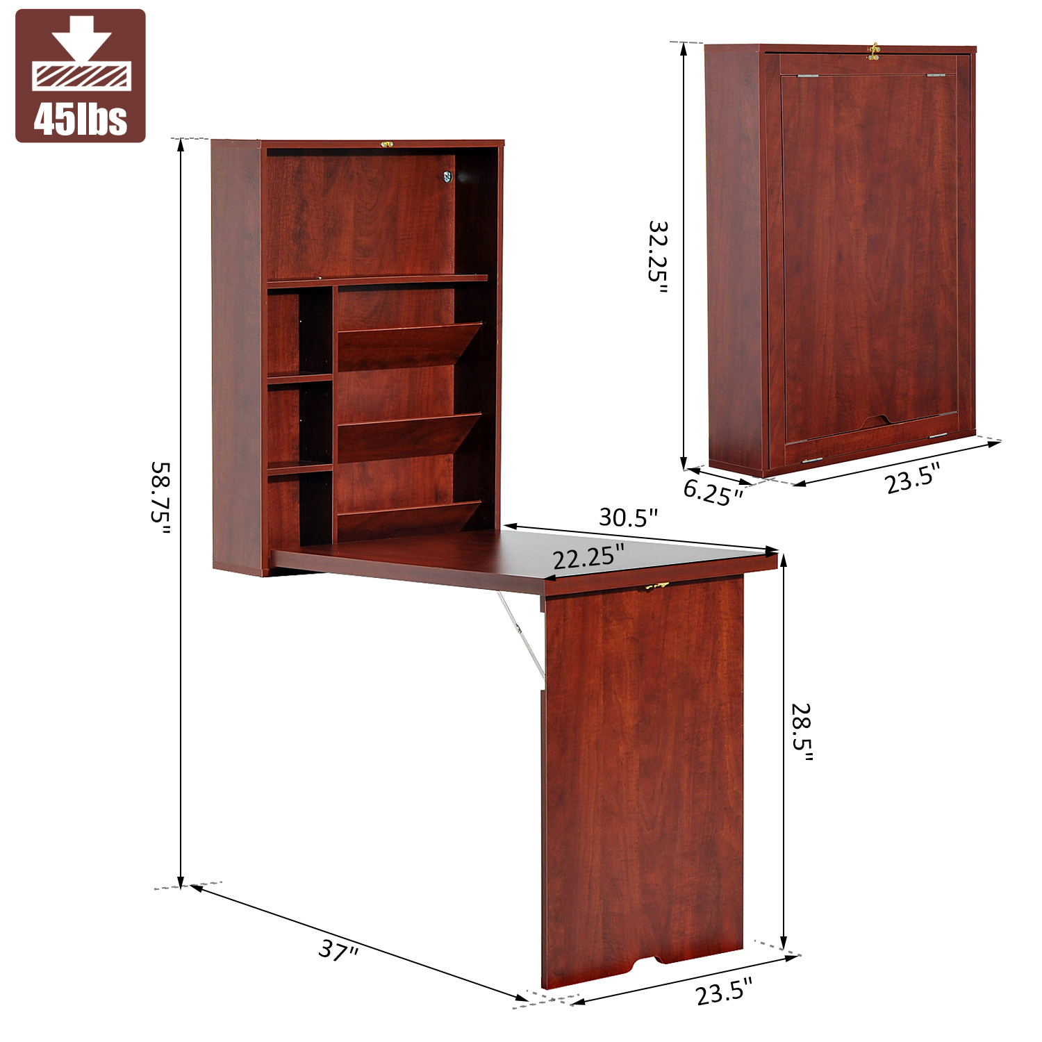 Details about Wall Mount Writing Table Convertible Folding Computer Desk  Storage Home Office