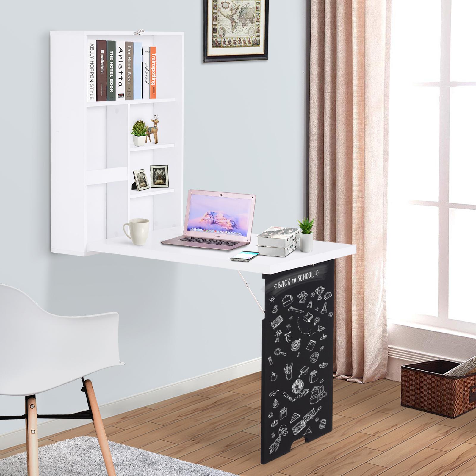 - Wall Mount Folding Computer Desk W/ Storage, Blackboard And Simple