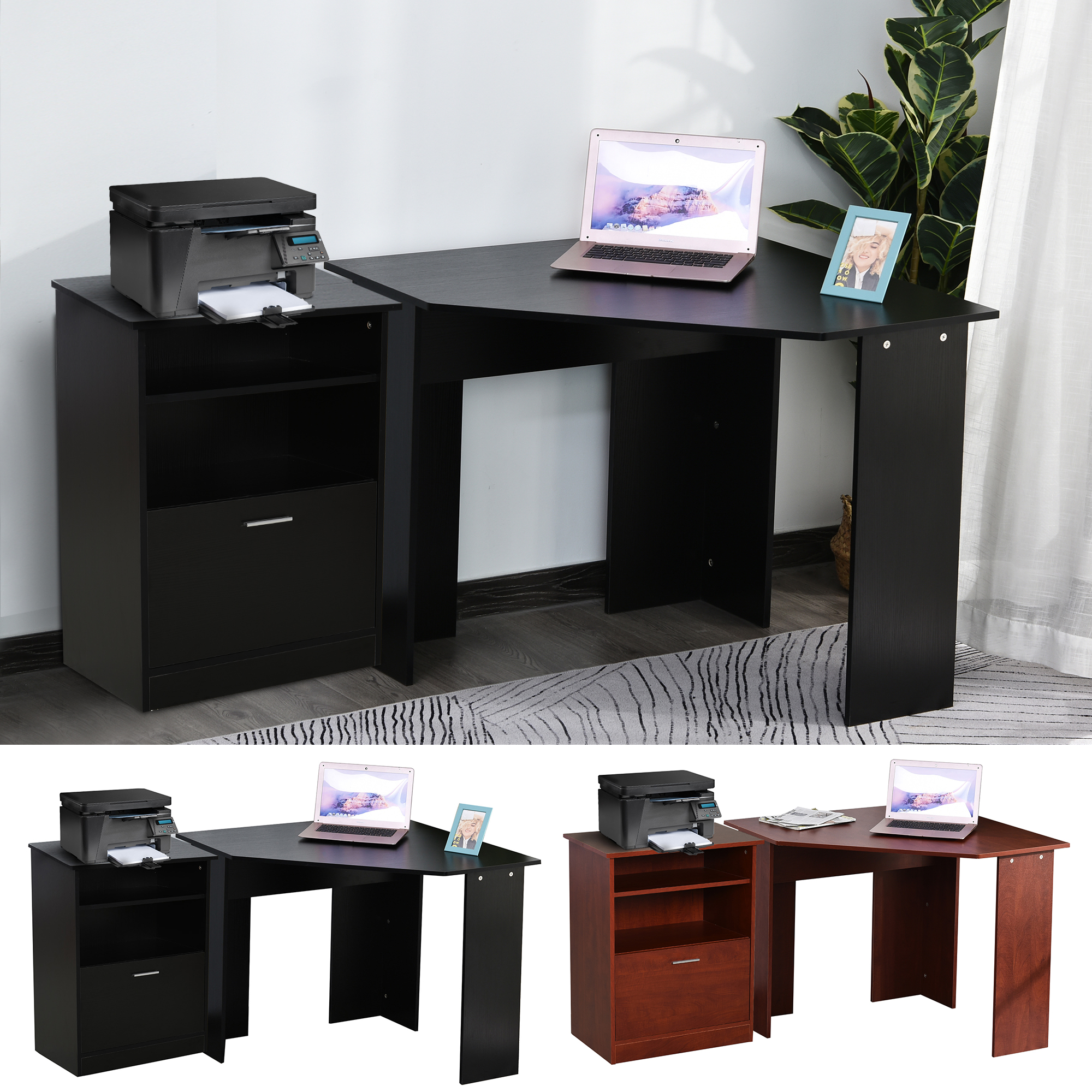 Details about HOMCOM Computer Desk w/ Printer Cabinet L-Shape Corner Table  PC Laptop Desk
