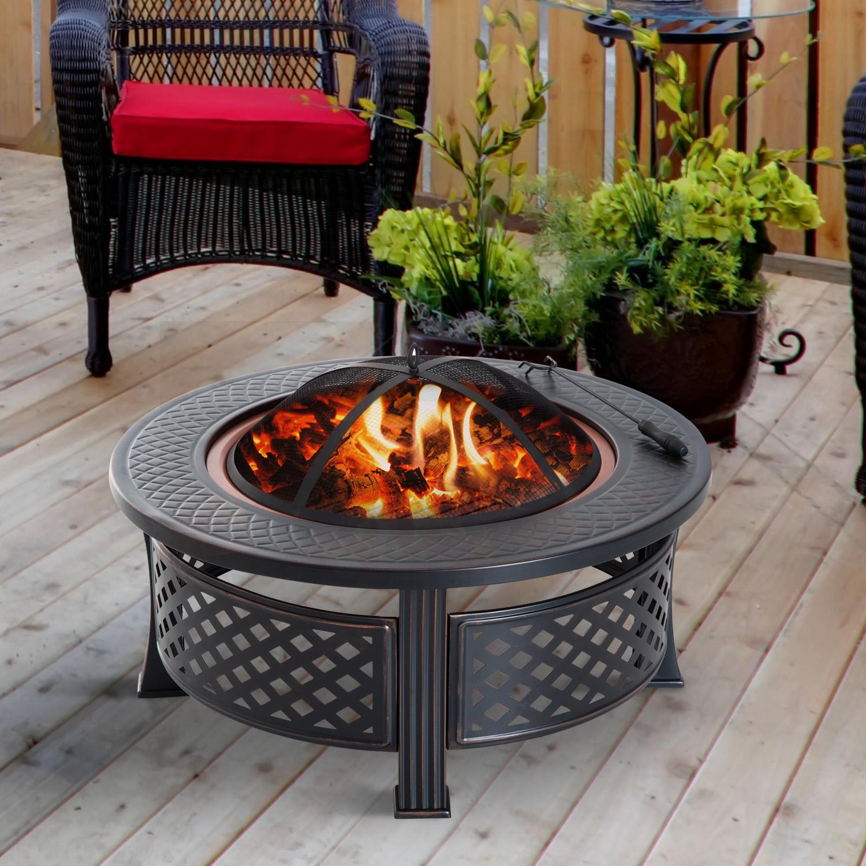 """32"""" Round Backyard Wood Burning Fire Pit Fireplace Patio Heater"""