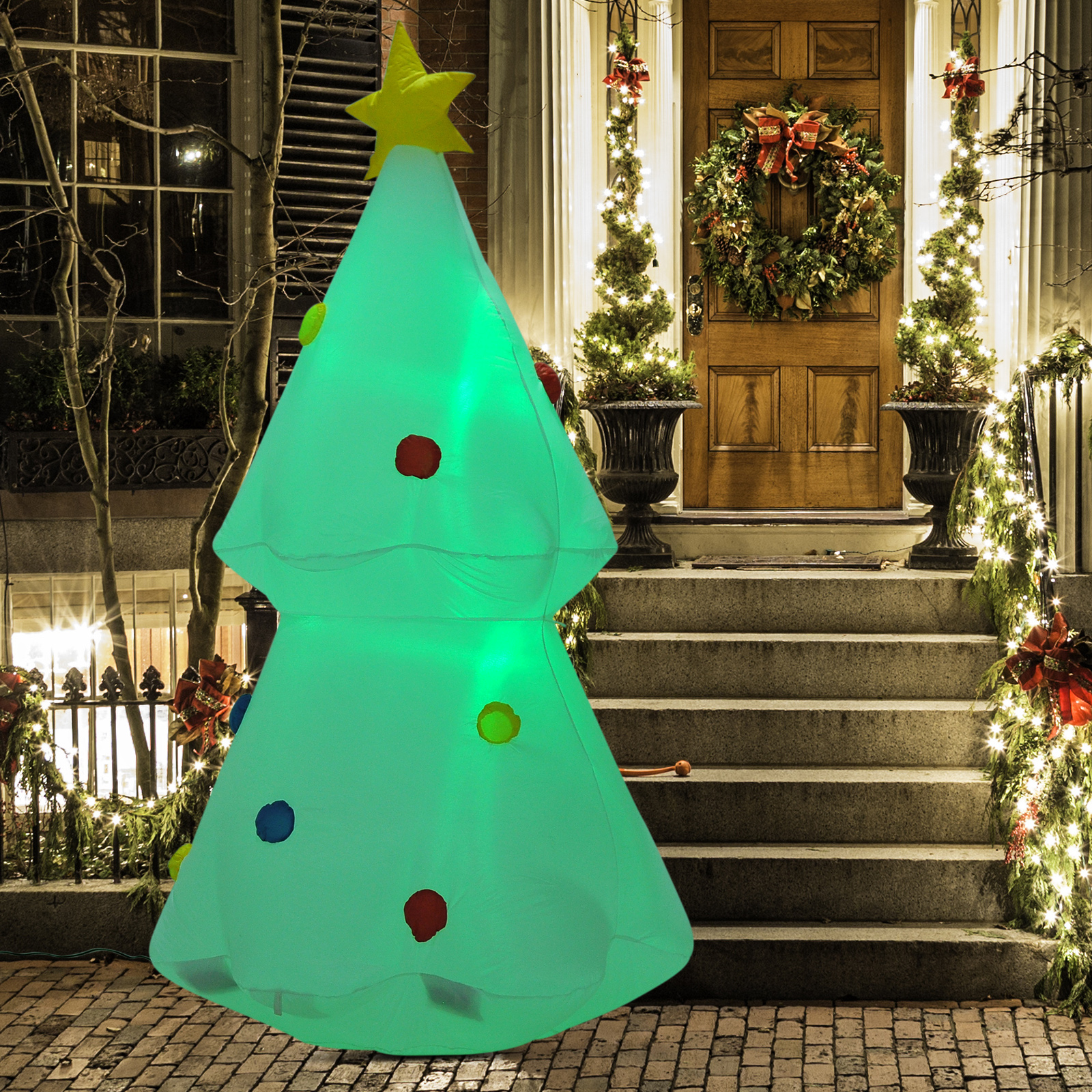 Details About 6ft Inflatable Christmas Tree Lighted Airblown Holiday Outdoor Yard Decorations