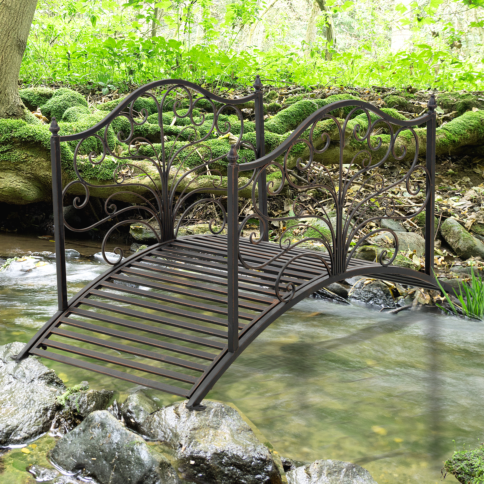 Outsunny 4' Arched Outdoor Metal Decorative Fish Pond