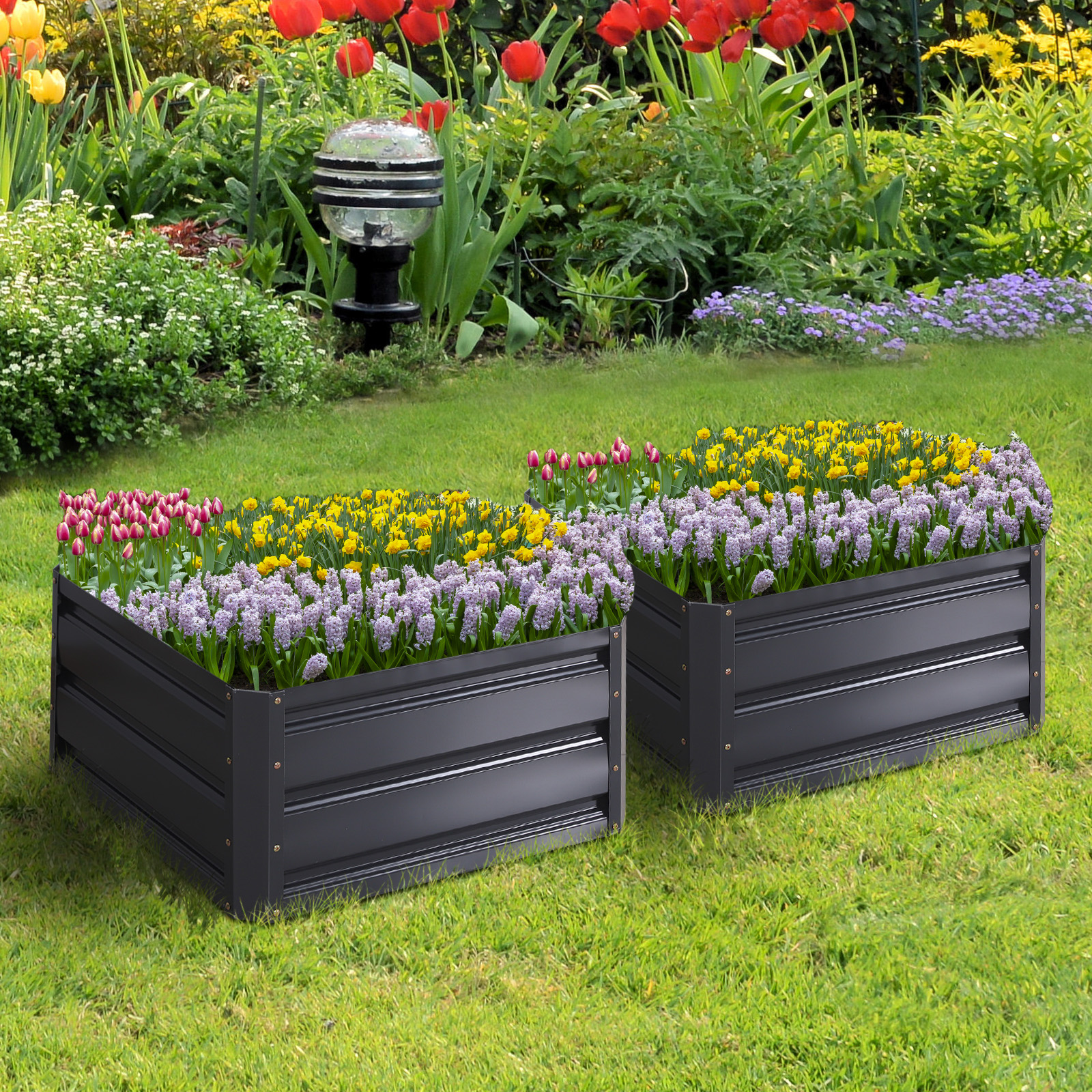 Picture of: 2pc 24×24 Metal Raised Vegetable Garden Bed Plant Box Growing Flowers Gray Ebay