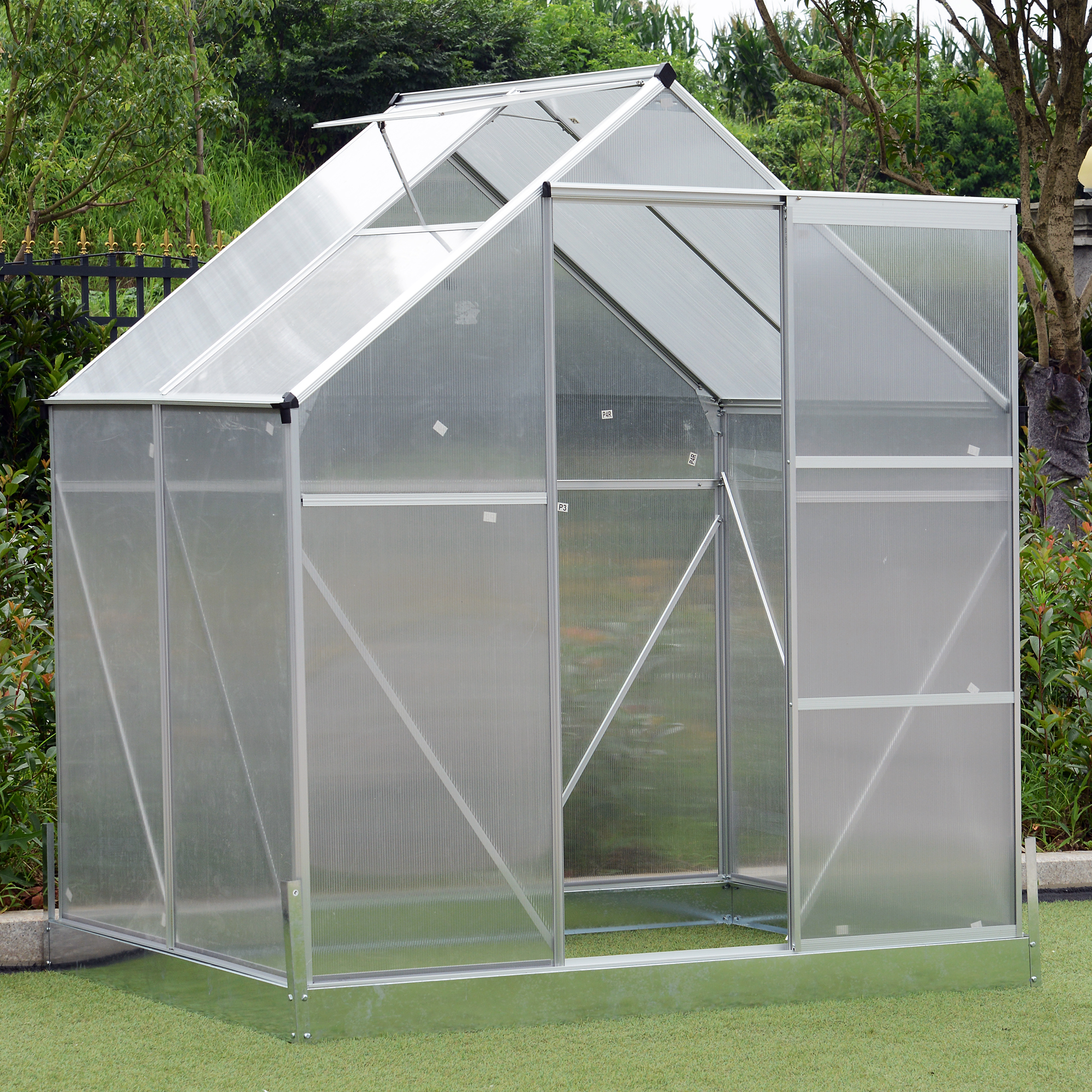 Details about Outsunny 4 25' Outdoor Aluminum Polycarbonate Portable  Walk-In Greenhouse