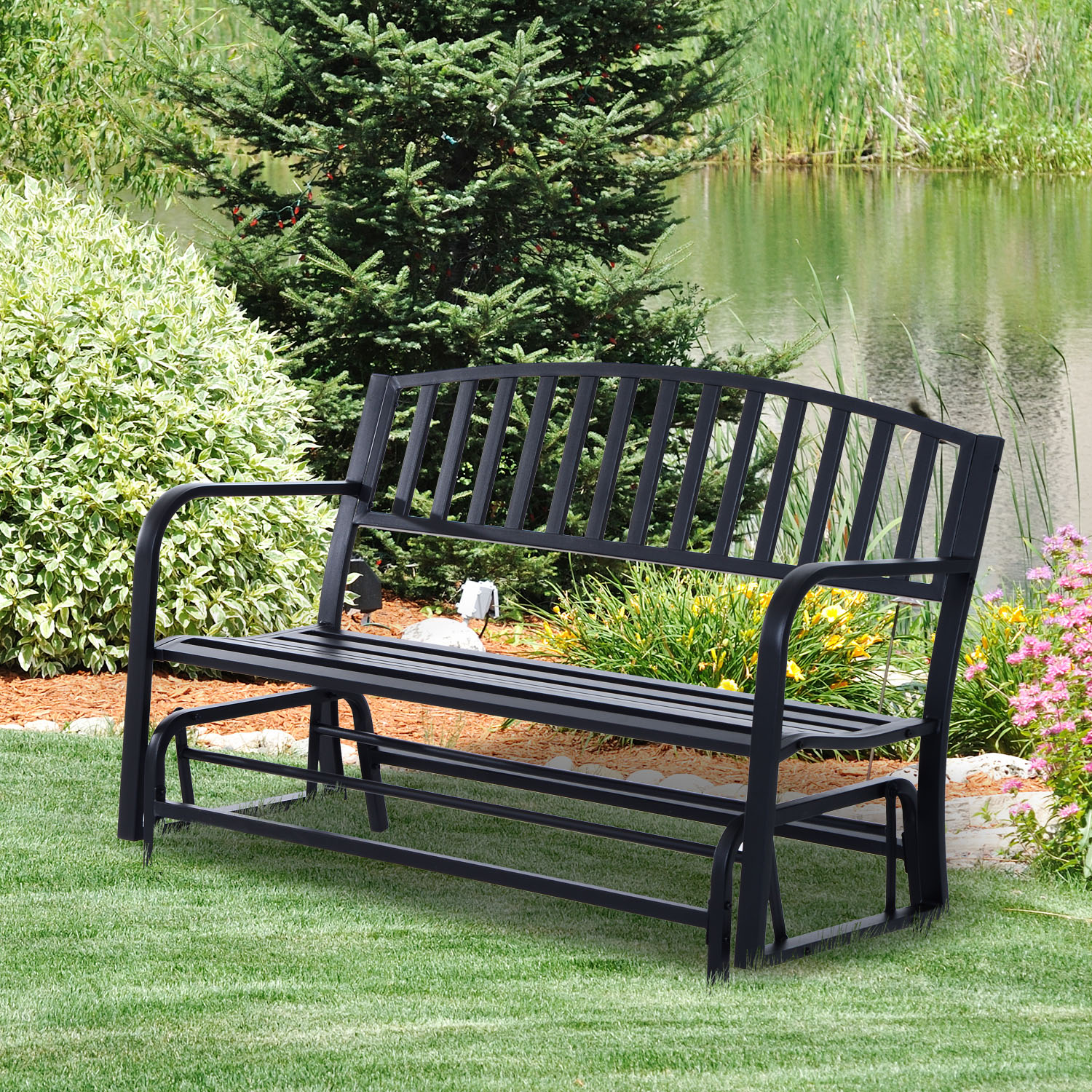 Phenomenal Details About Outsunny Bench Glider Rocking Chair Outdoor Patio Garden Furniture Deck Loveseat Caraccident5 Cool Chair Designs And Ideas Caraccident5Info