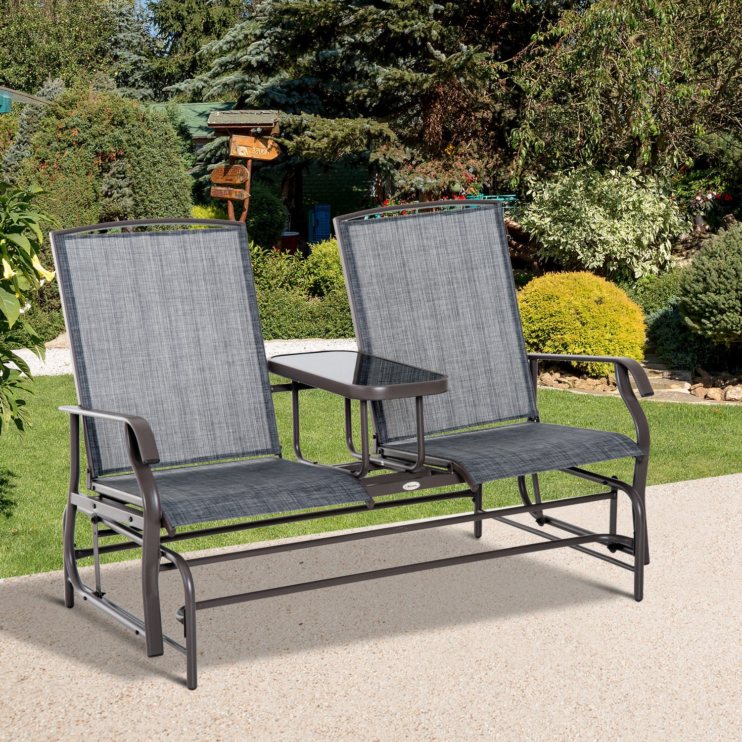 Details about outsunny 2 seater patio glider rocking chair metal swing bench furniture table