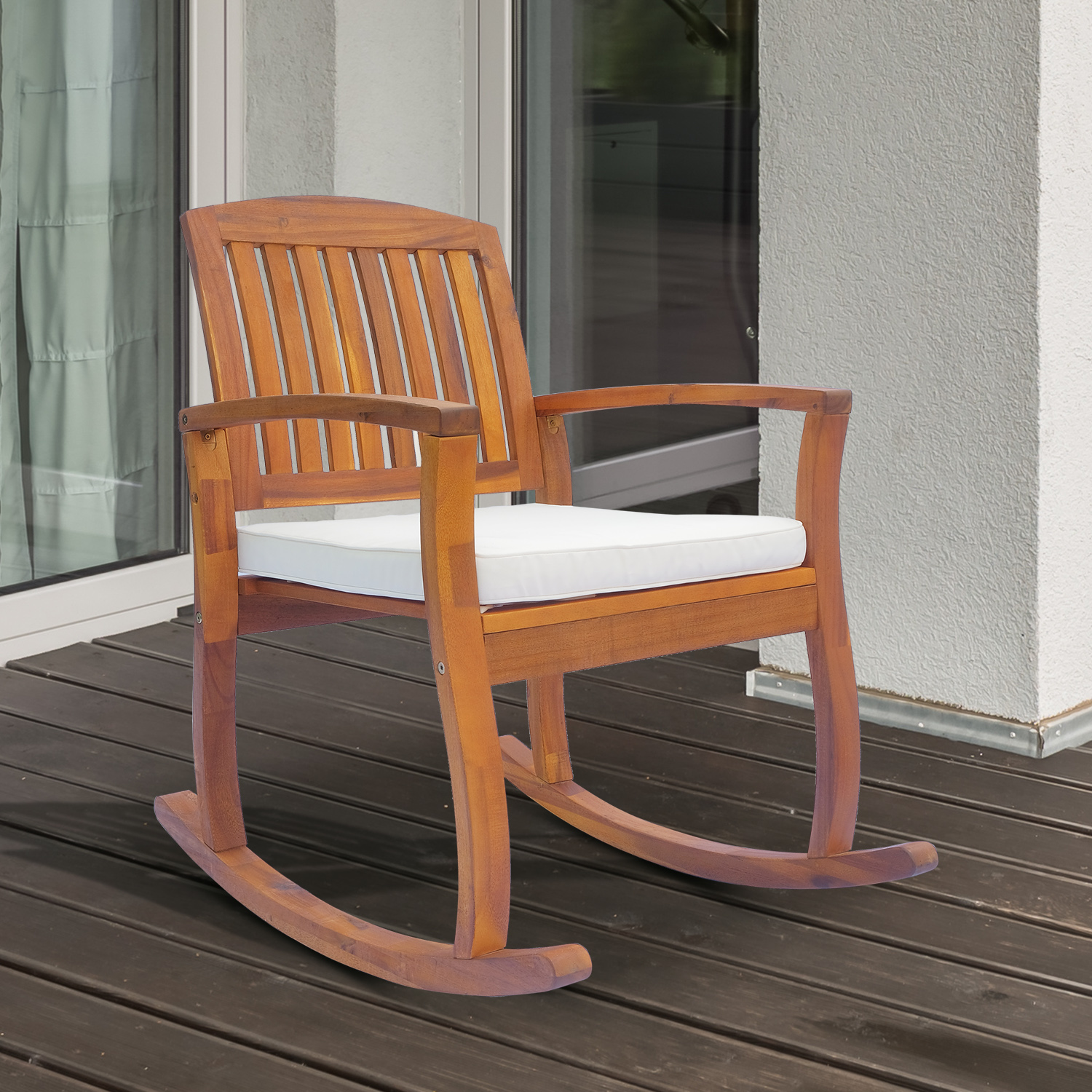 outsunny acacia wood outdoor rocking chair porch rocker with