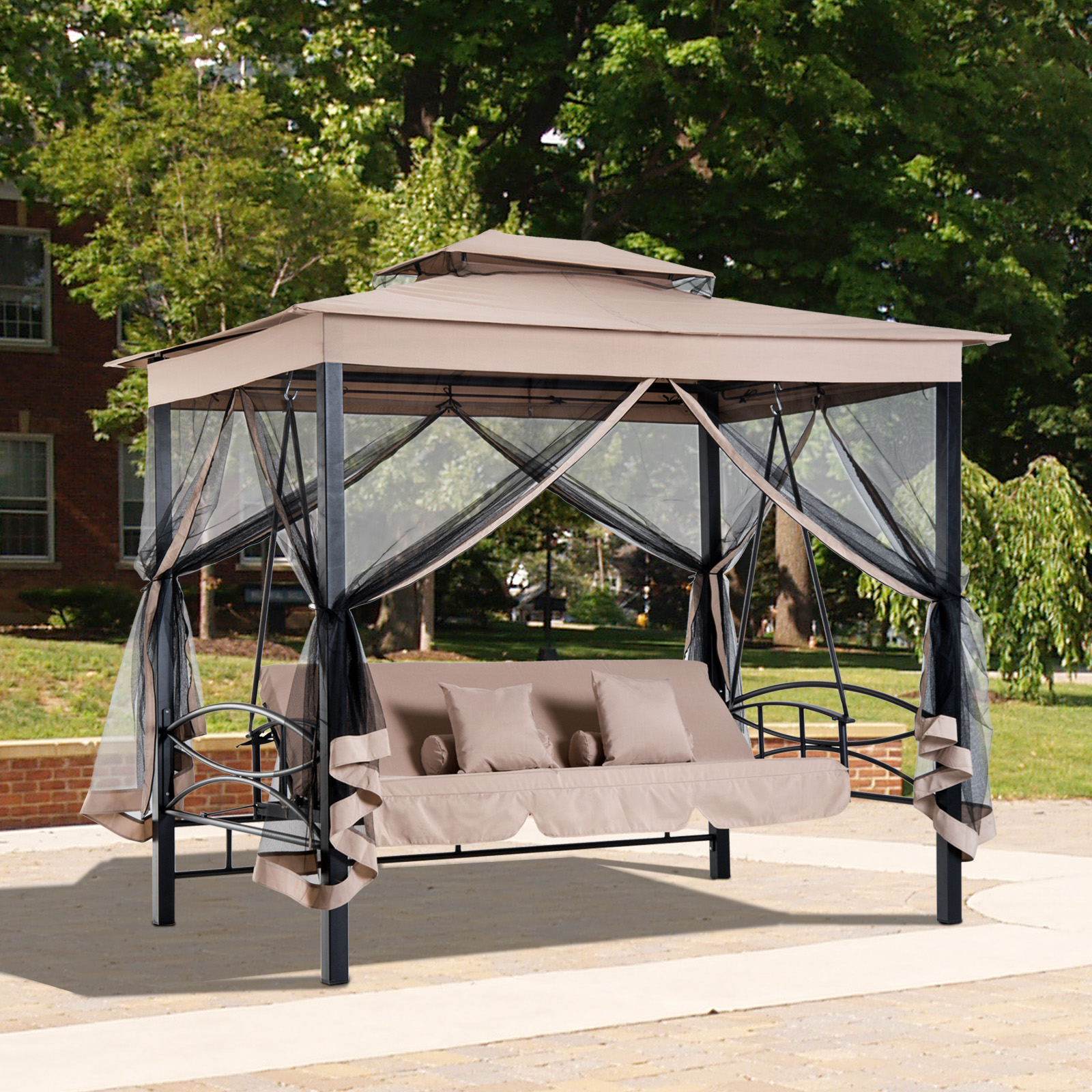 3 in 1 patio swing gazebo canopy daybed hammock canopy tent outdoor furniture 842525120470 ebay. Black Bedroom Furniture Sets. Home Design Ideas