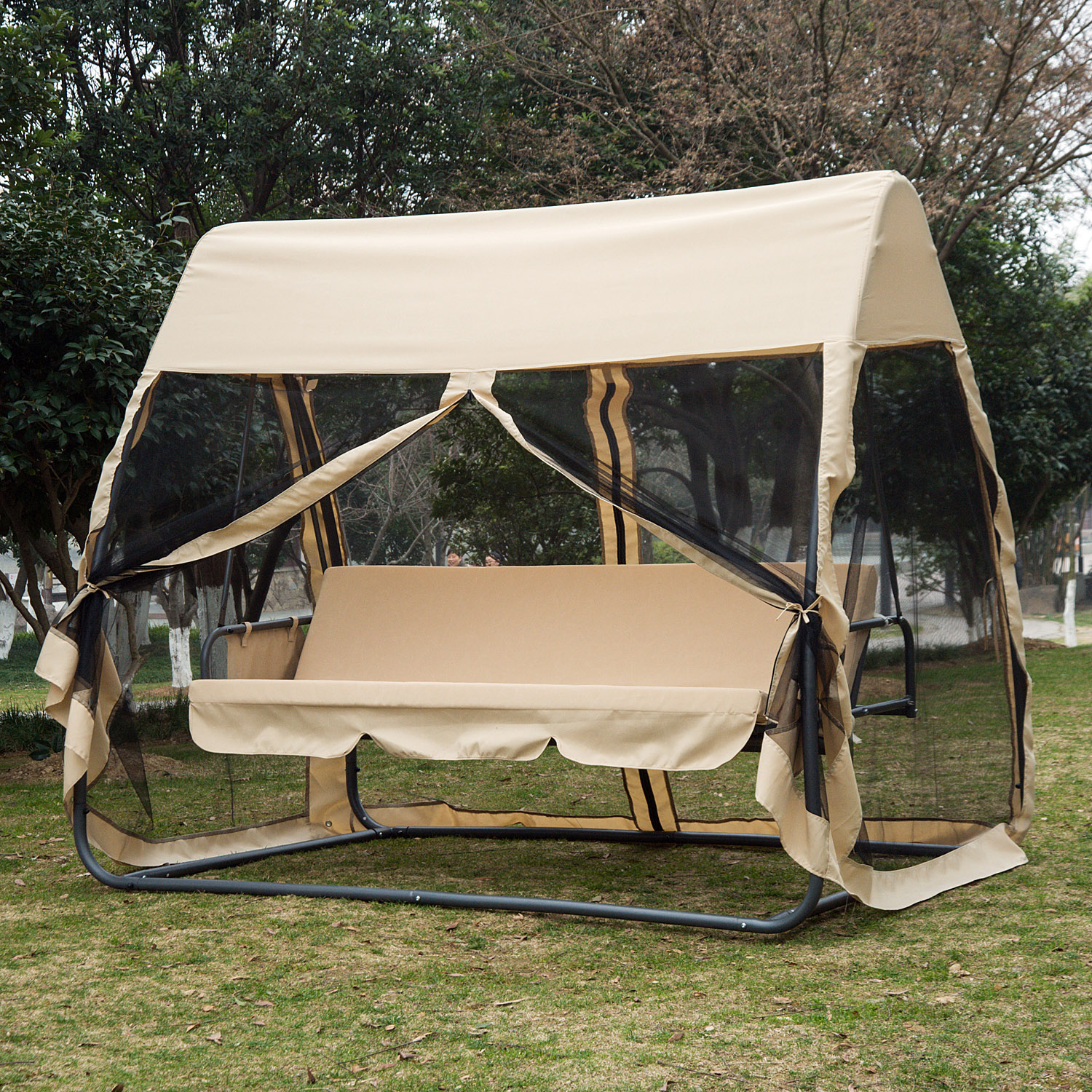 Outsunny 3 Seat Outdoor Convertible Swing Chair Bed W Mosquito