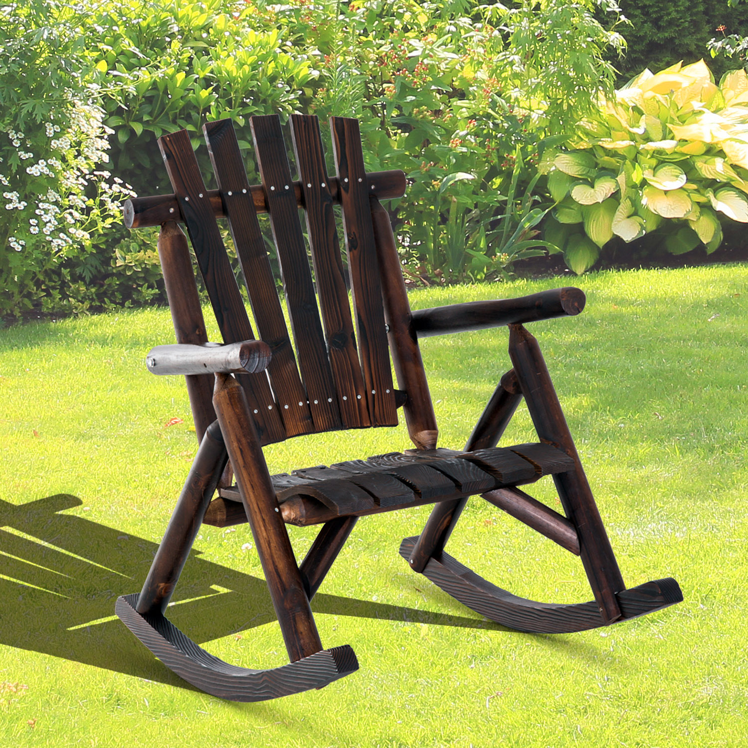 super popular bec49 477dc Details about Outsunny Fir Wood Rustic Outdoor Patio Adirondack Rocking  Chair Porch Rocker