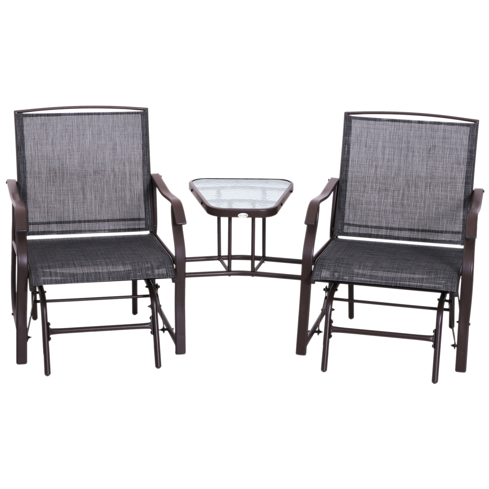 Patio Double Glider Chairs Garden Bench with Center Table ...