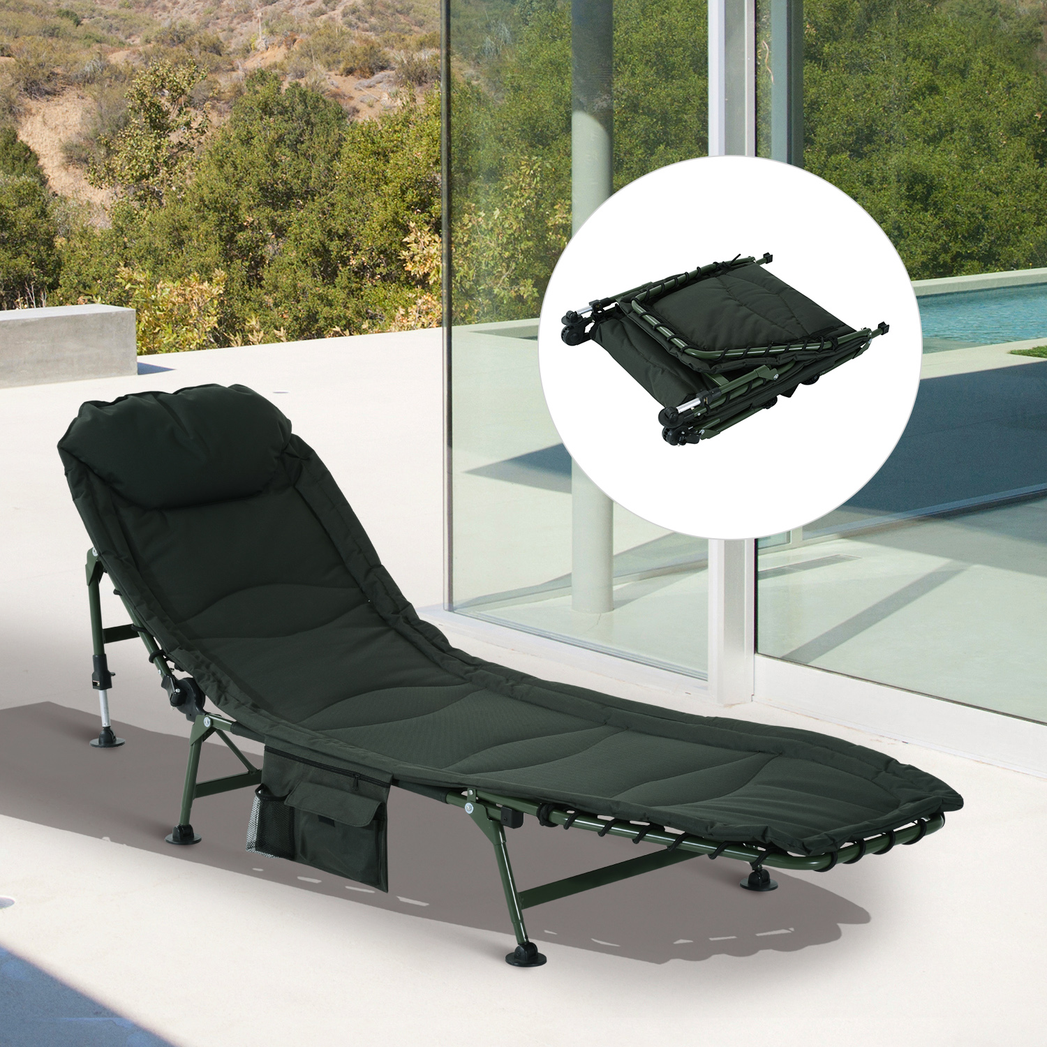 Outsunny folding recliner lounge chair outdoor camping portable w side bag ebay - Outdoor mobel lounge ...