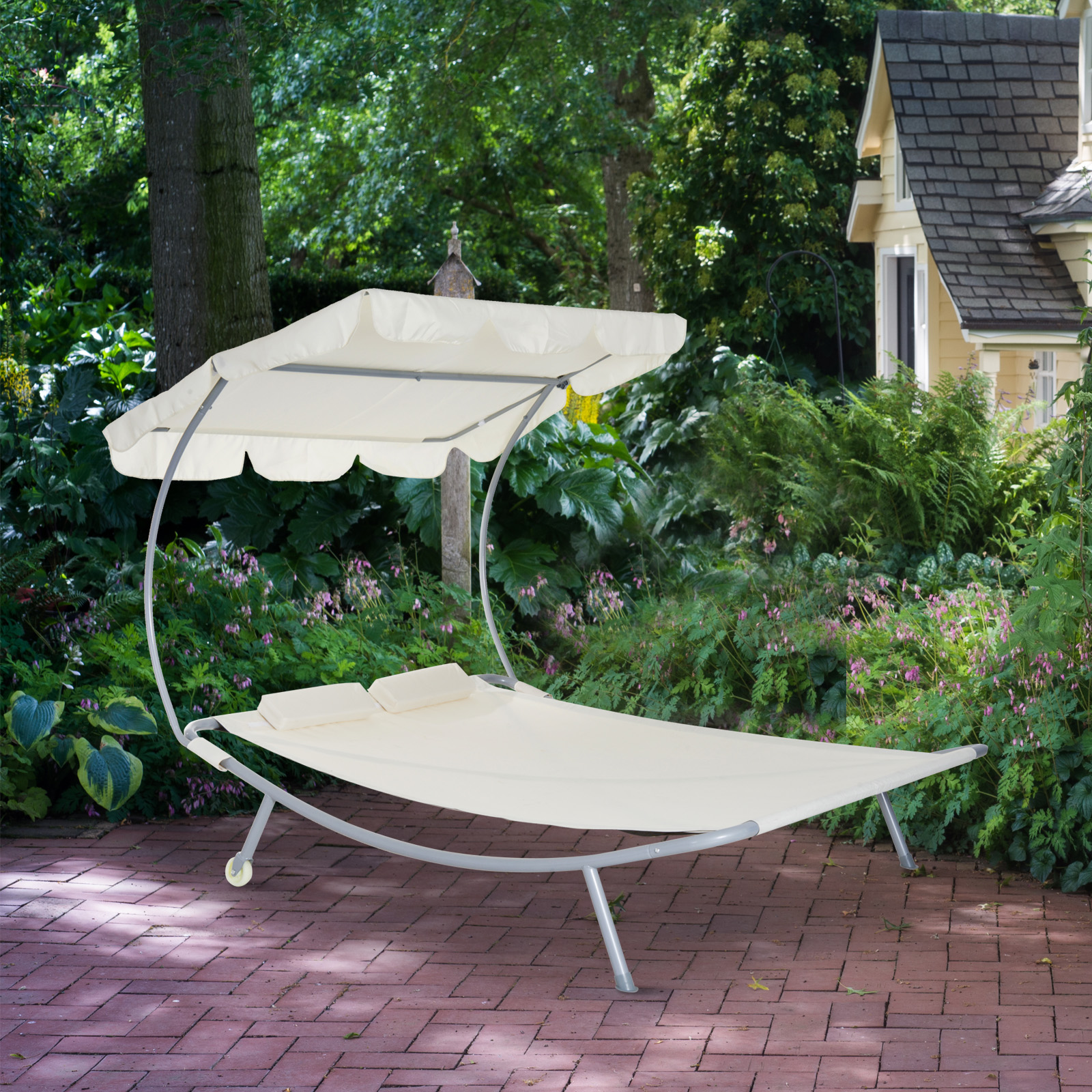 Outdoor Double Chaise Lounge Patio Hammock Sunbed Lounger