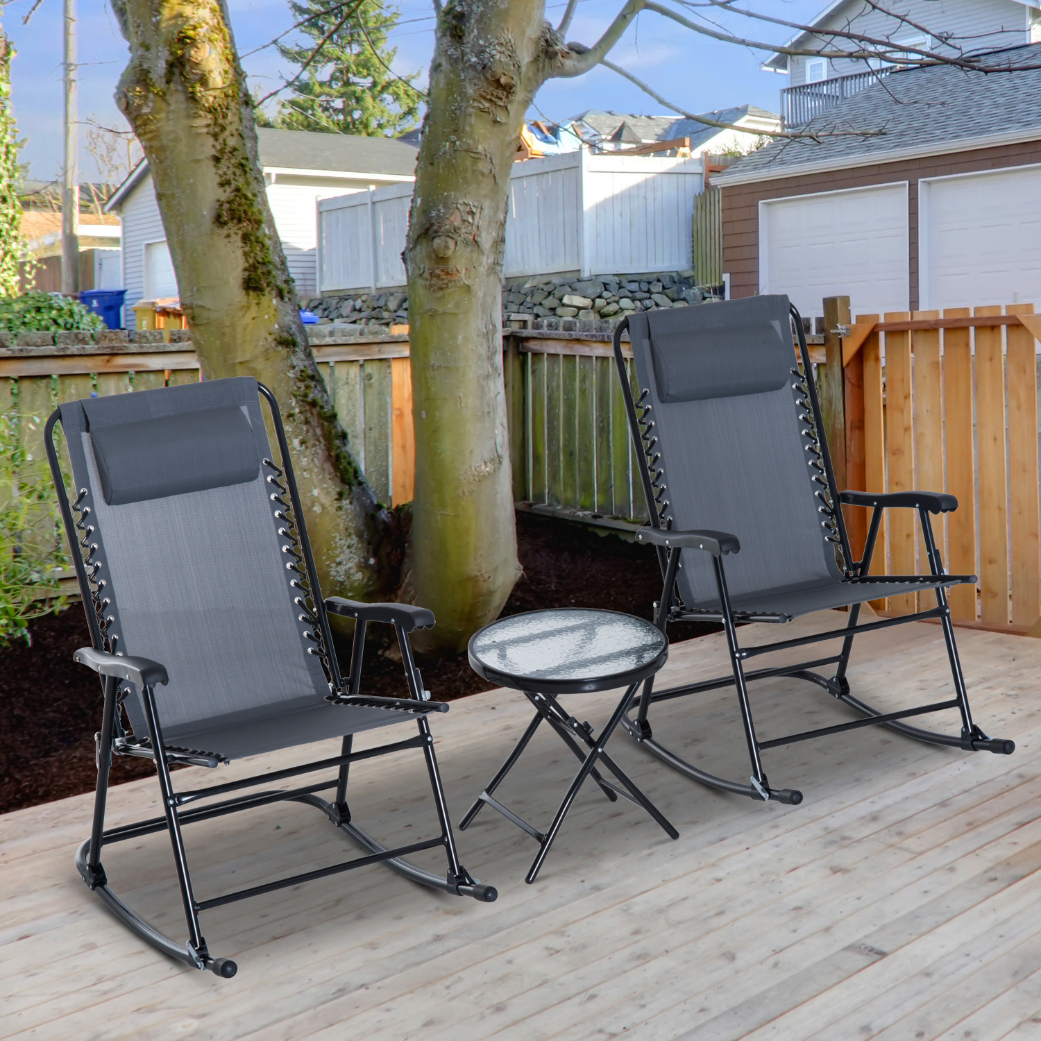 Excellent Details About Outsunny 3 Piece Outdoor Rocking Chair Patio Table Seating Set Rocker Bistro Ibusinesslaw Wood Chair Design Ideas Ibusinesslaworg