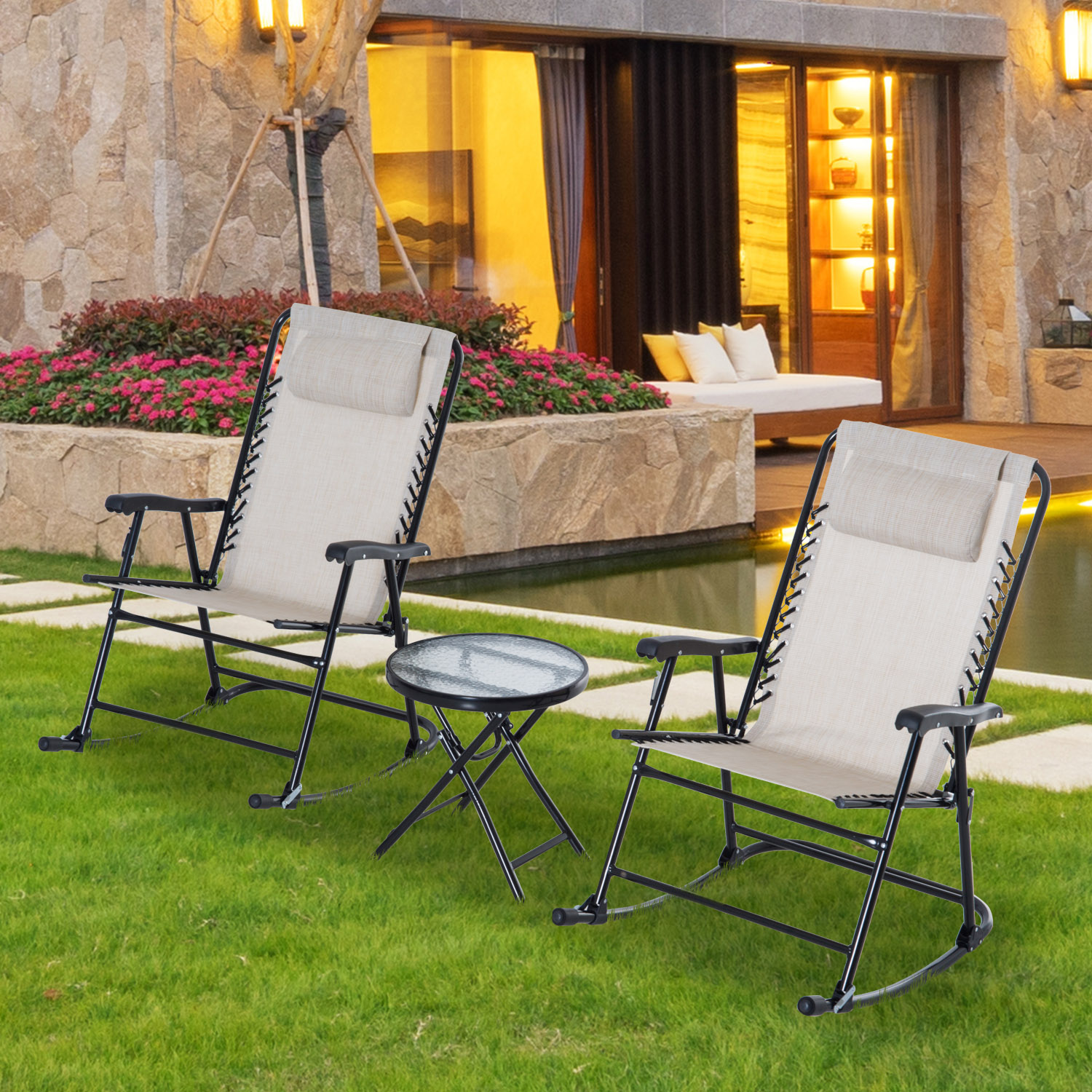 3pc Outdoor Rocking Chair Patio Table Seating Set