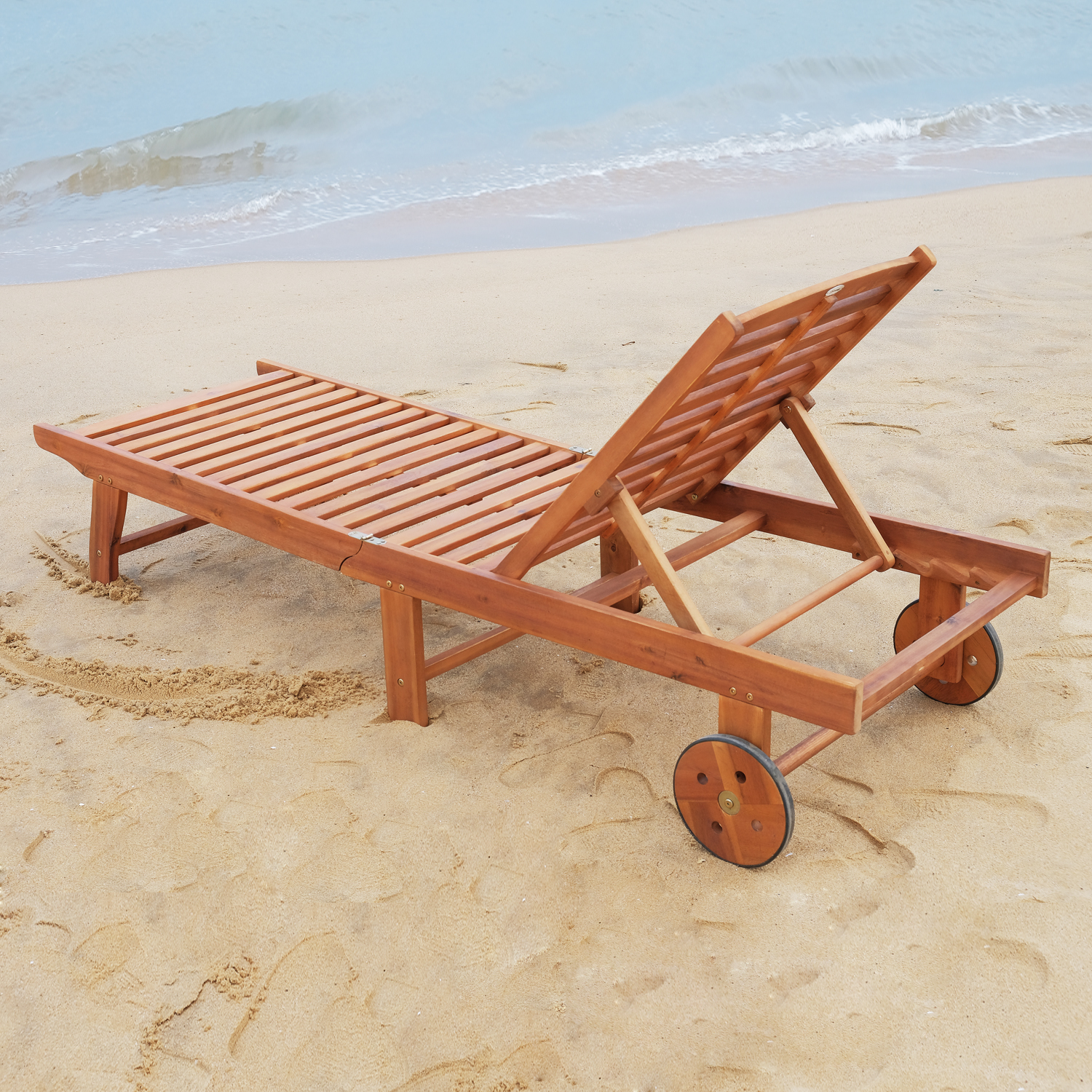 Wood Outdoor Folding Chaise Lounge Chair Beach Poolside ...