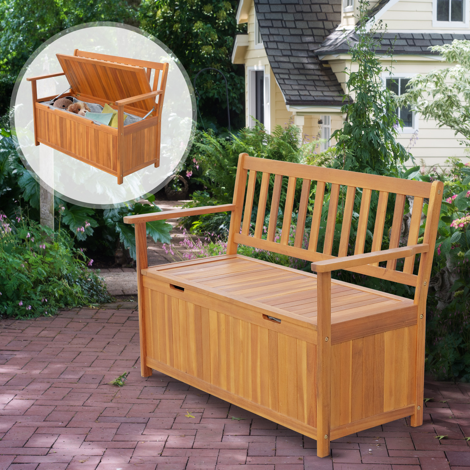 47 wooden outdoor storage bench patio 2 person chair seat deck box