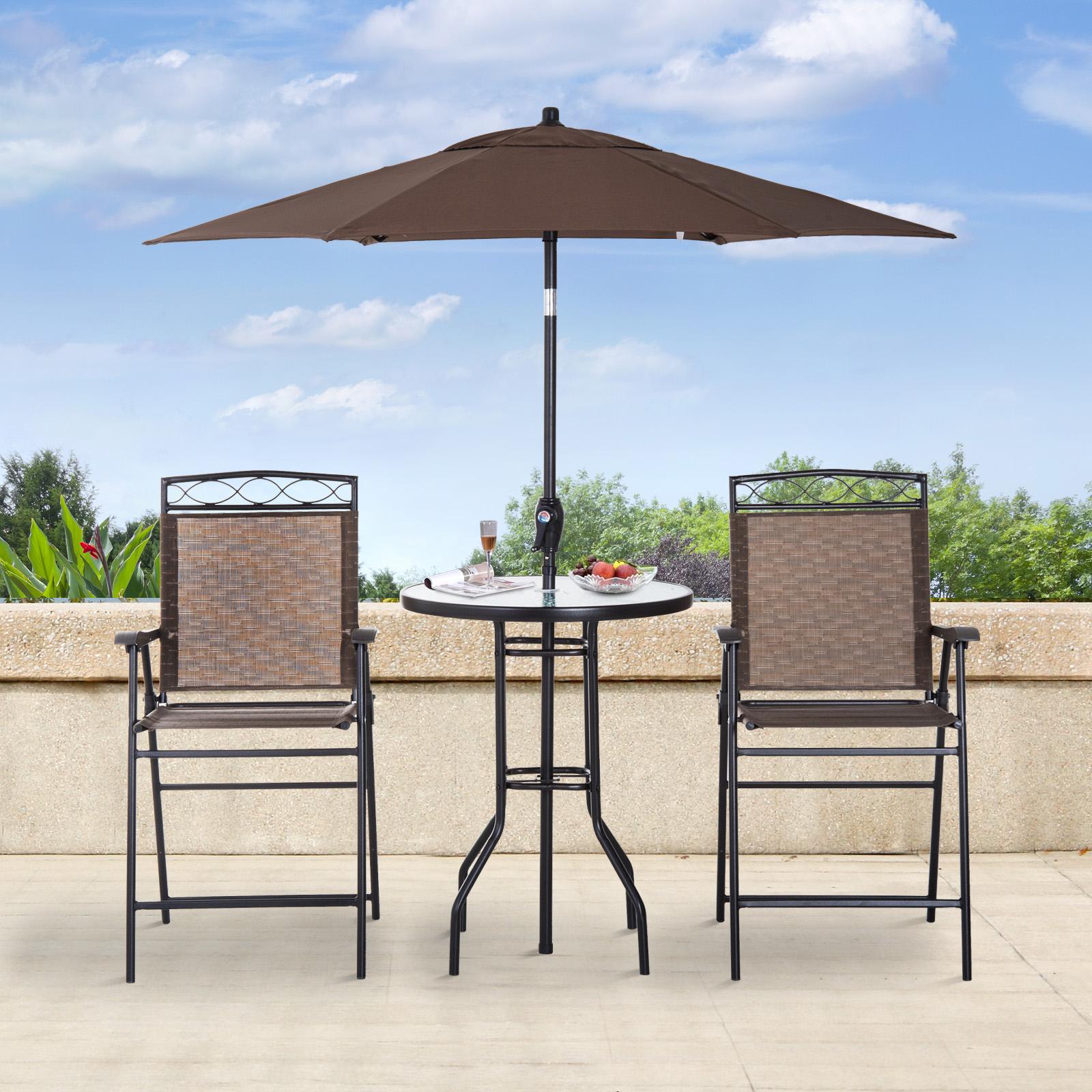 4 Pcs Outdoor Garden Folding Umbrella Table Chair Patio Dining