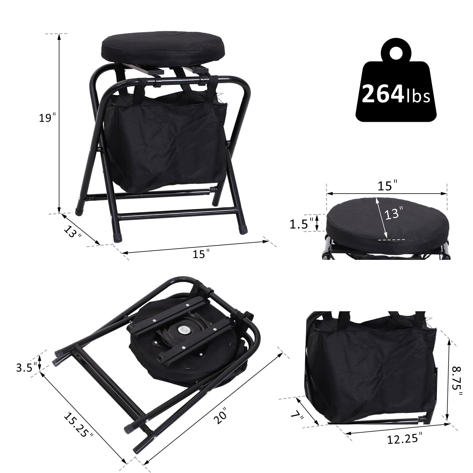 Outsunny-Folding-Rotating-Travel-Camping-Stool-for-Adults-w-Storage-Bag thumbnail 3