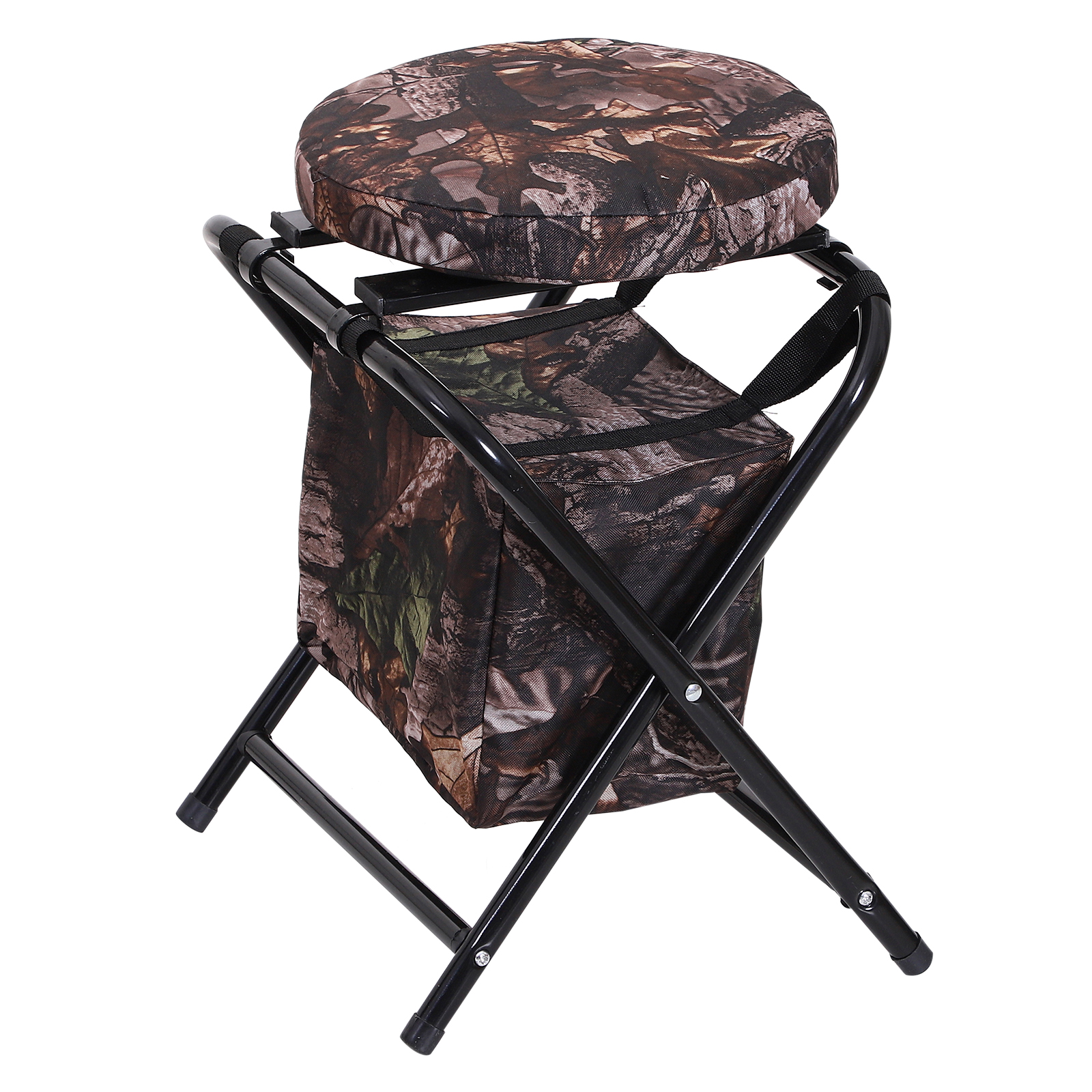 Outsunny-Folding-Rotating-Travel-Camping-Stool-for-Adults-w-Storage-Bag thumbnail 11