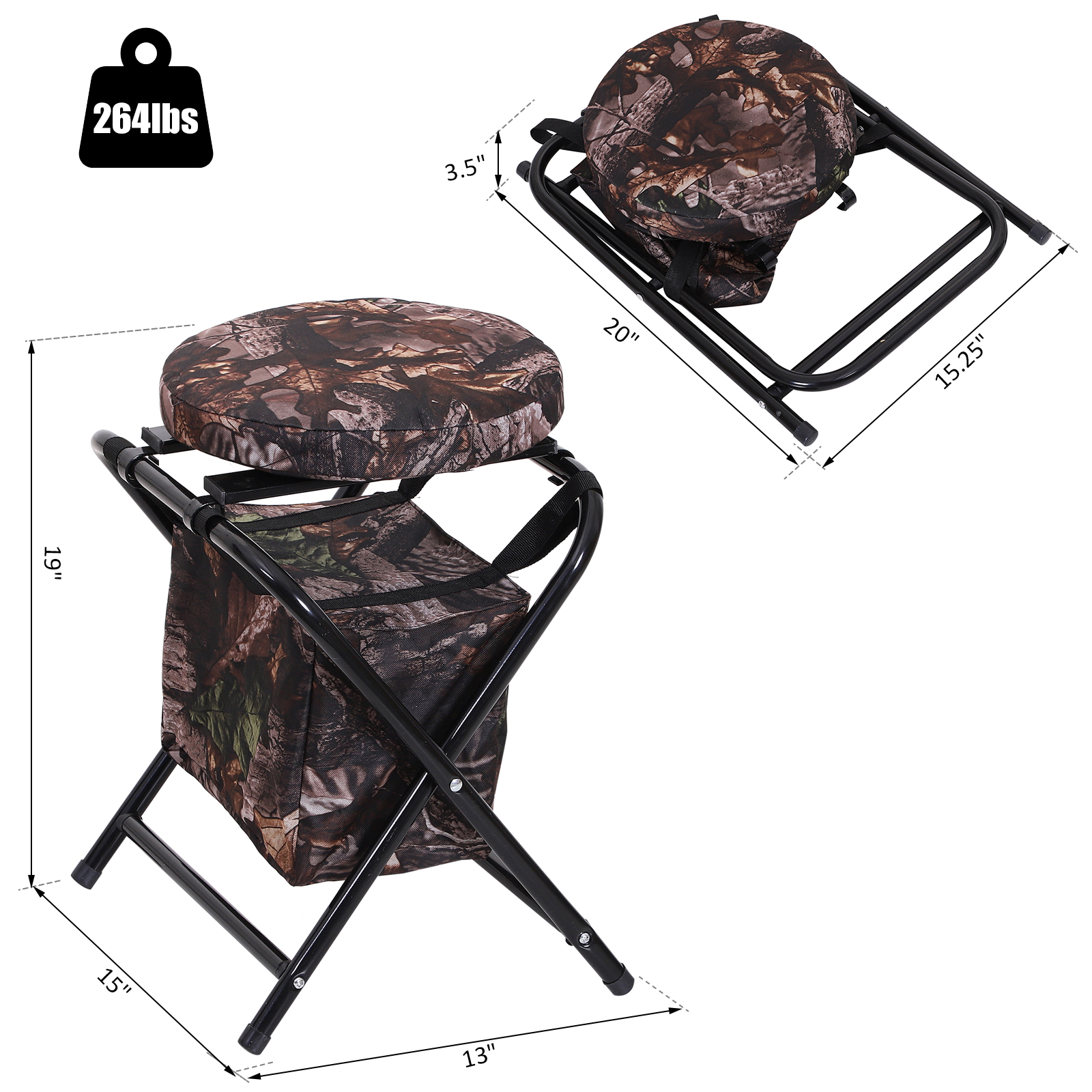 Outsunny-Folding-Rotating-Travel-Camping-Stool-for-Adults-w-Storage-Bag thumbnail 10