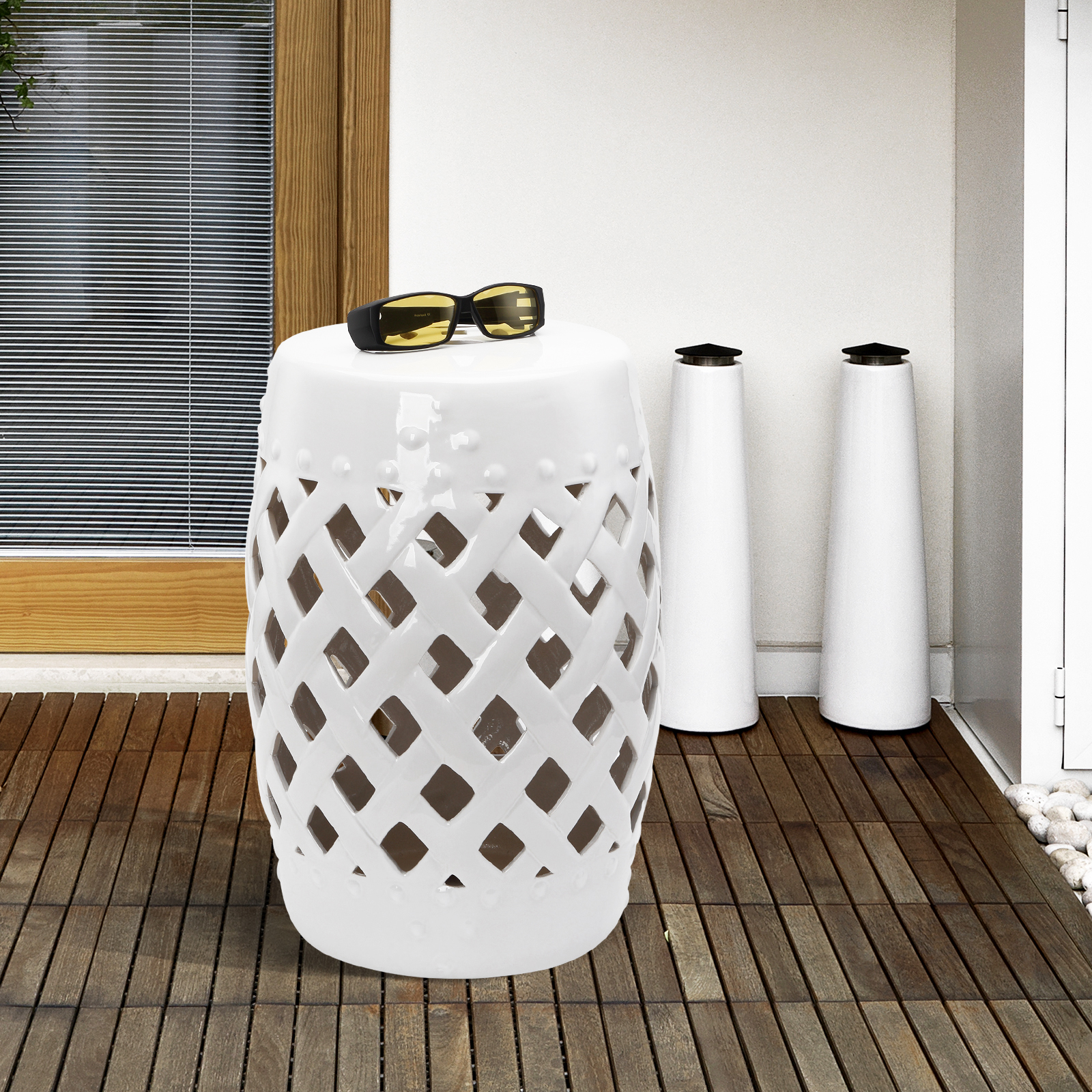 Astonishing Details About Outsunny Modern Ceramic Lattice Garden Stool Accent Table Decorative White Alphanode Cool Chair Designs And Ideas Alphanodeonline