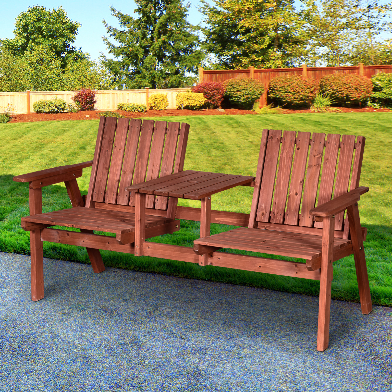 Details about Outsunny Outdoor Patio Tete a Tete Loveseat Garden Bench  Chair Wooden with Table