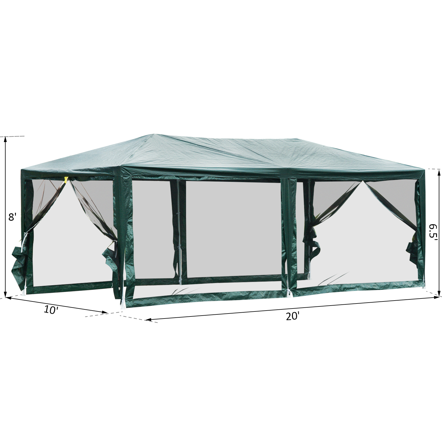 10-039-x-20-039-Gazebo-Canopy-Cover-Tent-Patio-Party-w-Removable-Mesh-Side-Walls thumbnail 3