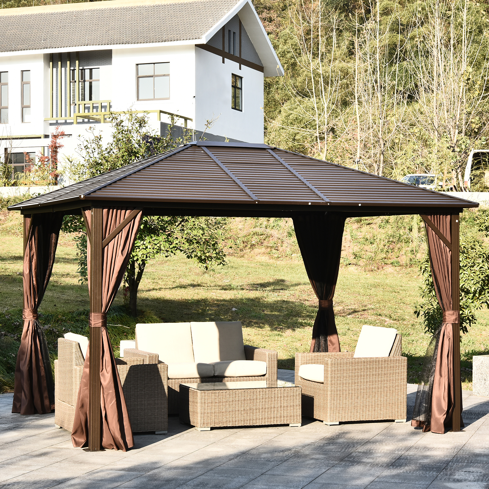 10 X 12 Deluxe Gazebo Patio Canopy Hard Top Outdoor Event W Double Netting 842525105323 Ebay